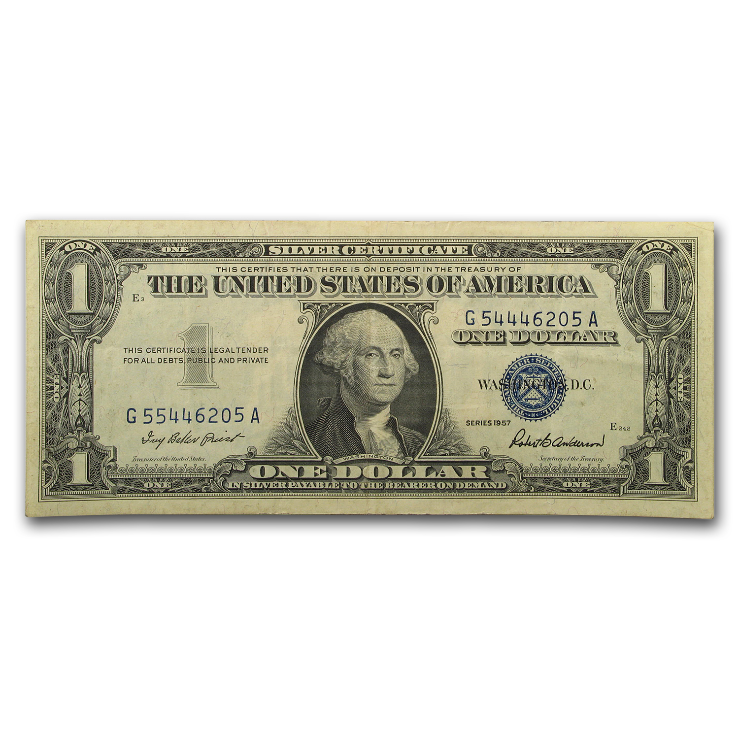 1957 $1 Silver Certificate Mis-Matched Serial Numbers AU