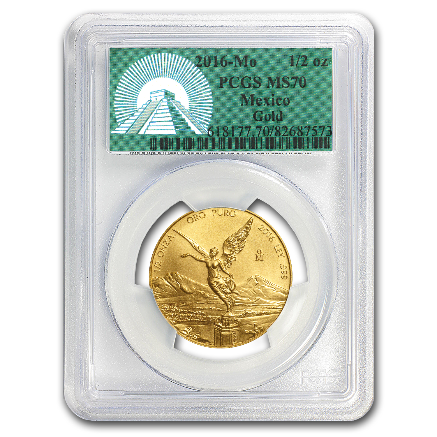 2016 Mexico 1/2 oz Gold Libertad MS-70 PCGS (Green Label)