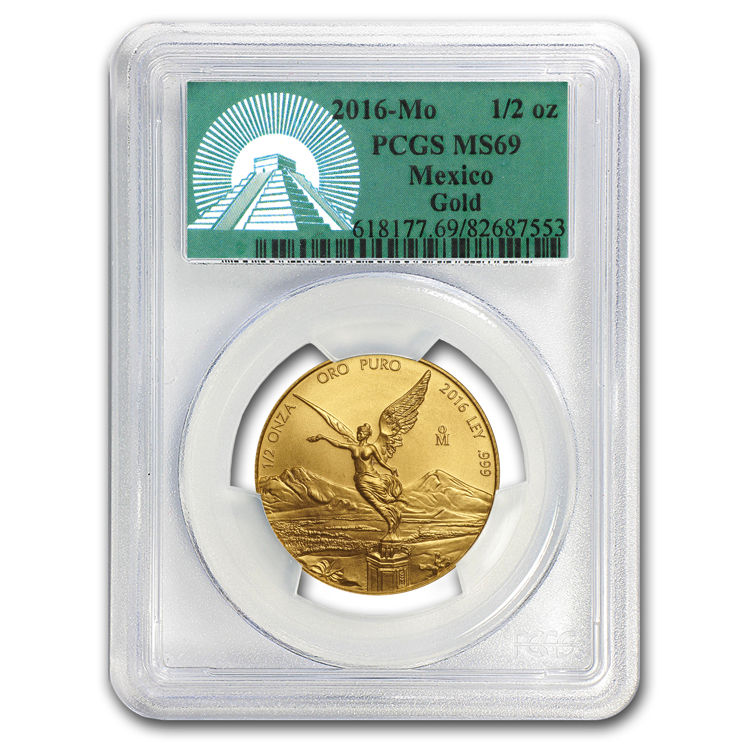 2016 Mexico 1/2 oz Gold Libertad MS-69 PCGS (Green Label)