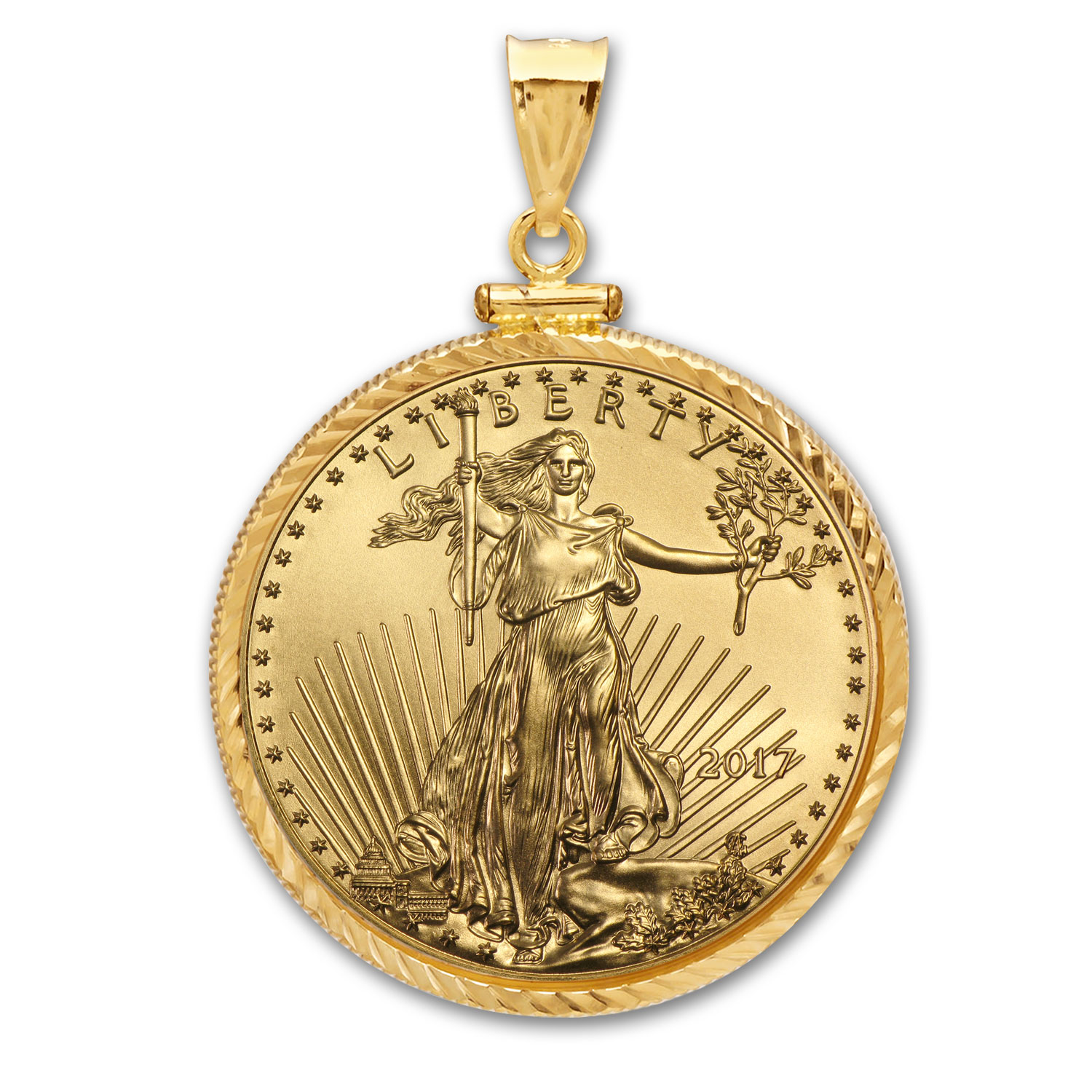 2017 1/10 oz Gold Eagle Pendant (Diamond-ScrewTop Bezel)