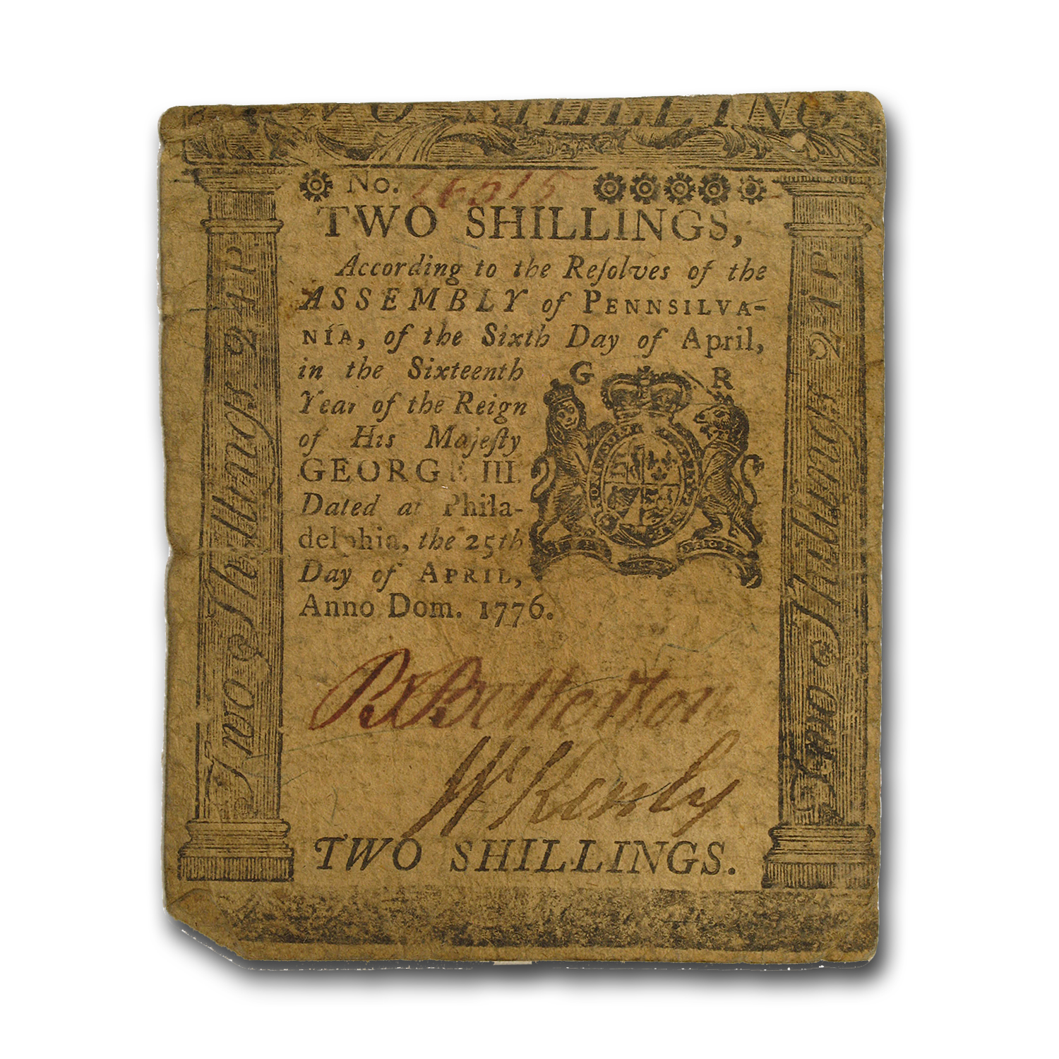 1776 2 Shillings Pennsylvania 4/25/1776 VF