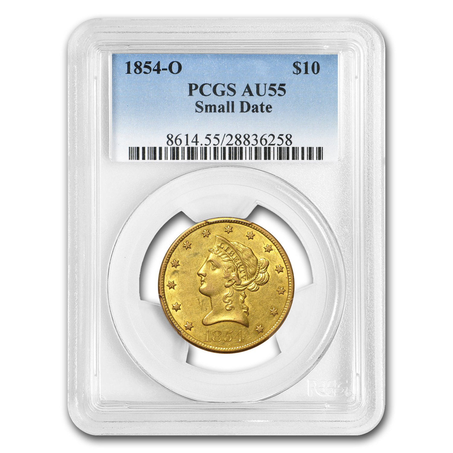 1854-O $10 Liberty Gold Eagle AU-55 PCGS (Small Date)