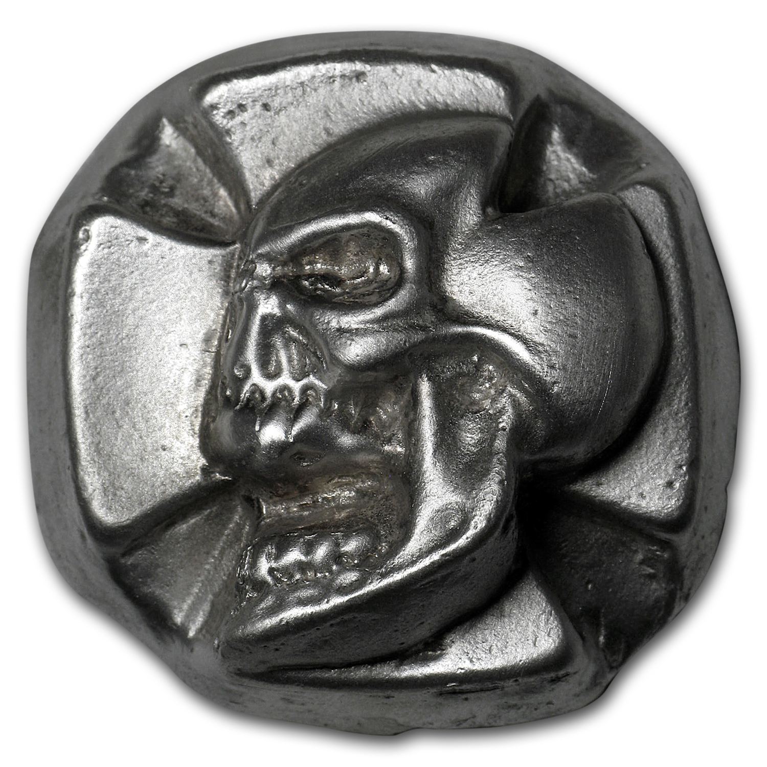 3 oz Silver Iron Cross Skull - Bison Bullion