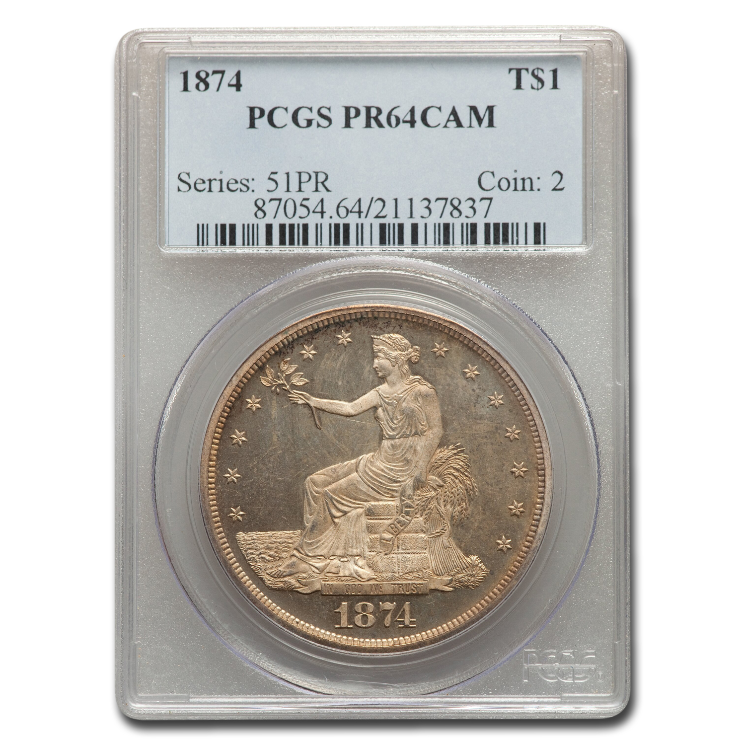 1874 Trade Dollar PR-64 Cameo PCGS