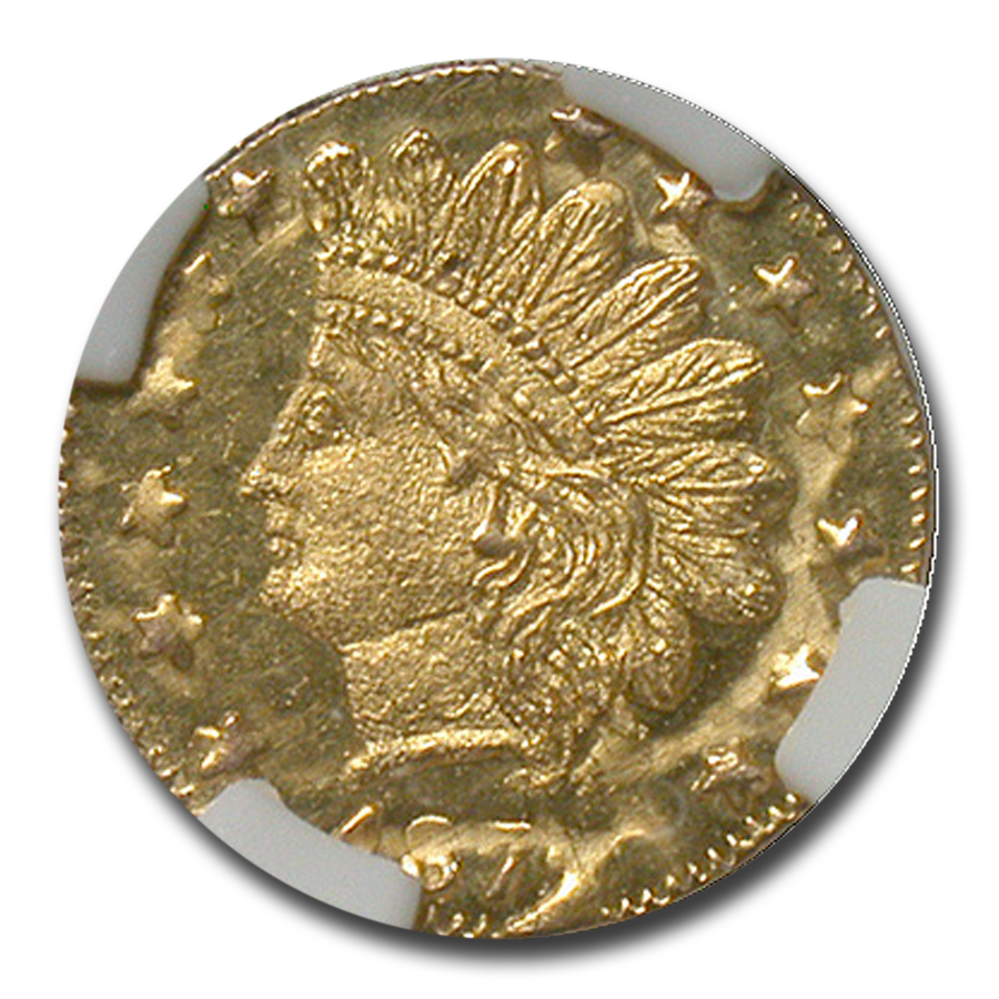 1872/1 Indian Round 25 cent Gold MS-65 NGC (DPL, BG-869)