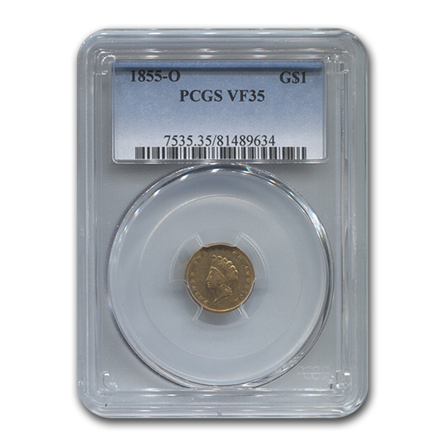 1855-O $1 Indian Head Gold VF-35 PCGS