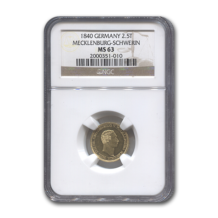 1840 Germany Gold 2 1/2 Thaler Mecklenburg-Schwerin MS-63 NGC