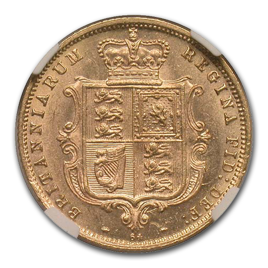 1877 Great Britain Gold Half Sovereign MS-63 NGC