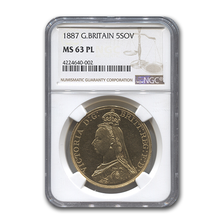 1887 Great Britain Gold 5 Sovereign MS-63 NGC (PL)