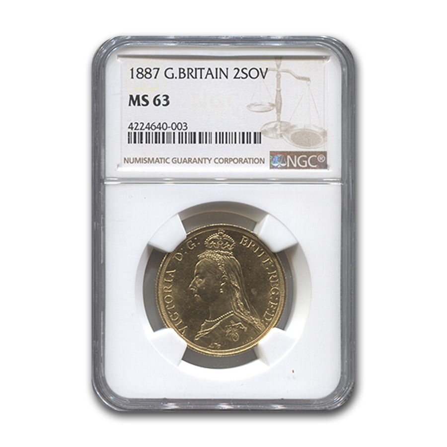 1887 Great Britain Gold 2 Sovereign MS-63 NGC