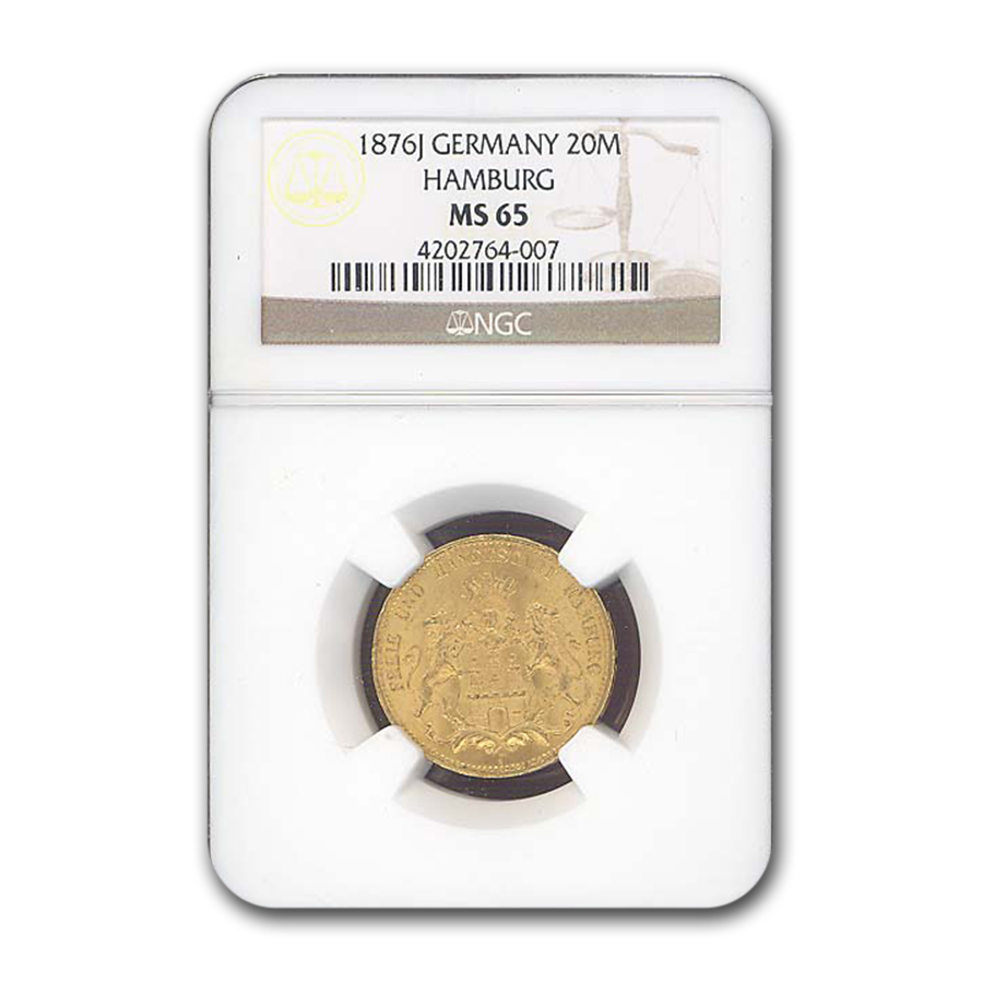 1876-J Germany Gold 20 Mark Hamburg MS-65 NGC