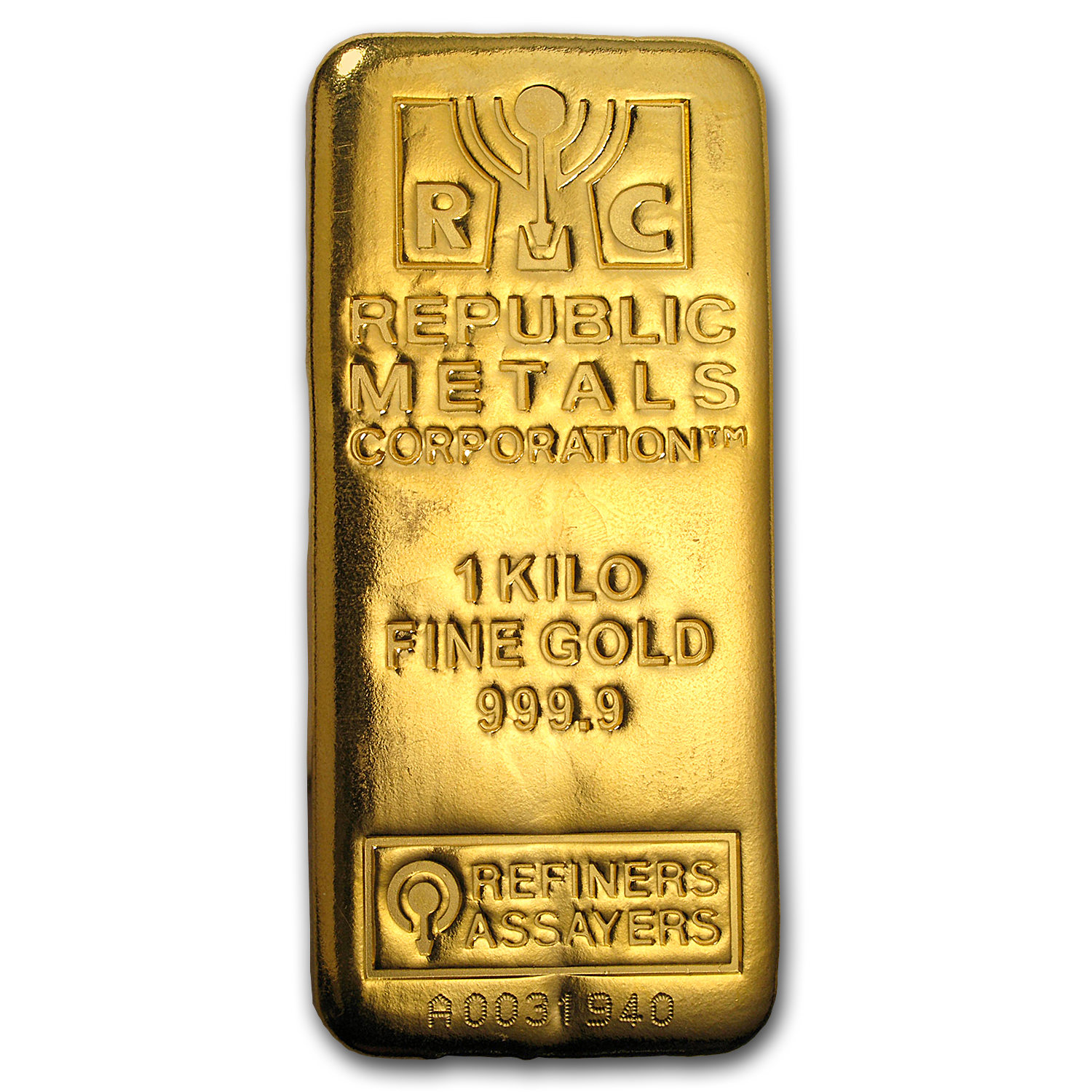 1 kilo Gold Bar - Republic Metals Corporation (Cast w/Assay)
