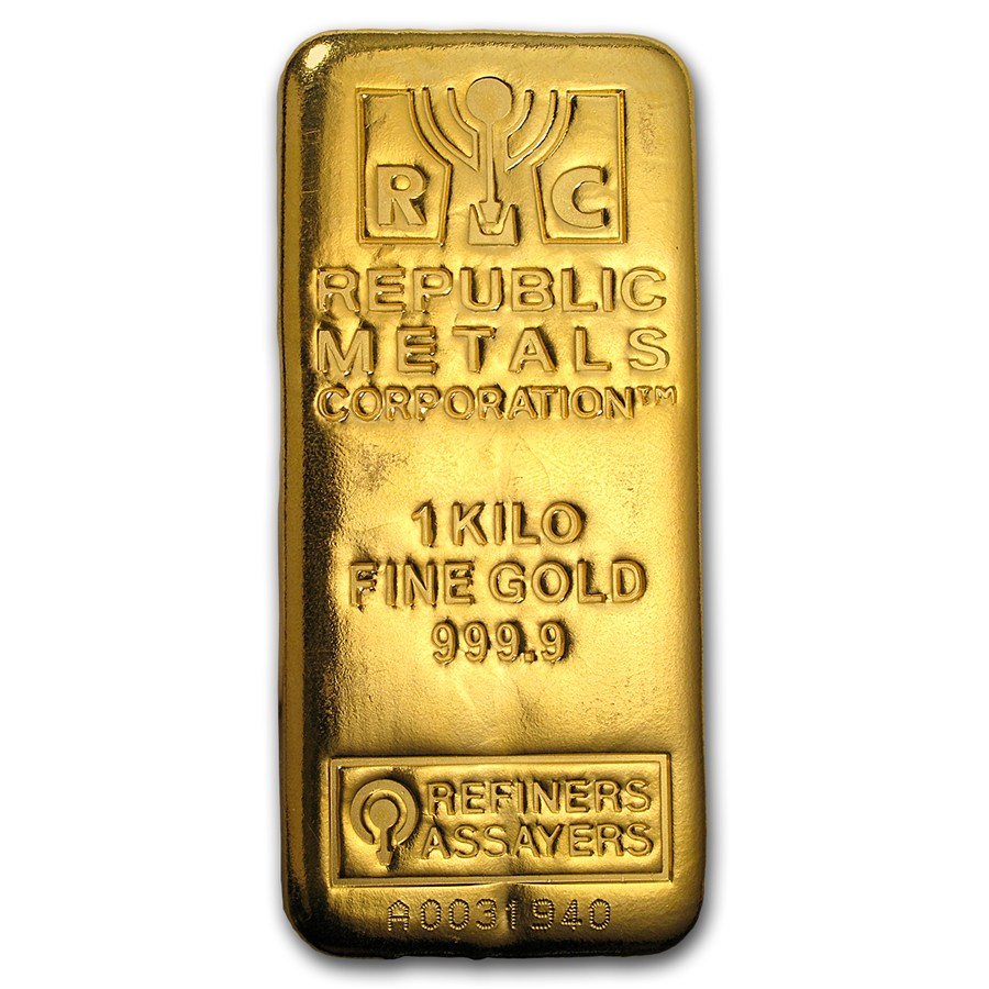 1 Kilo Gold Bar Republic Metals Corporation Cast W