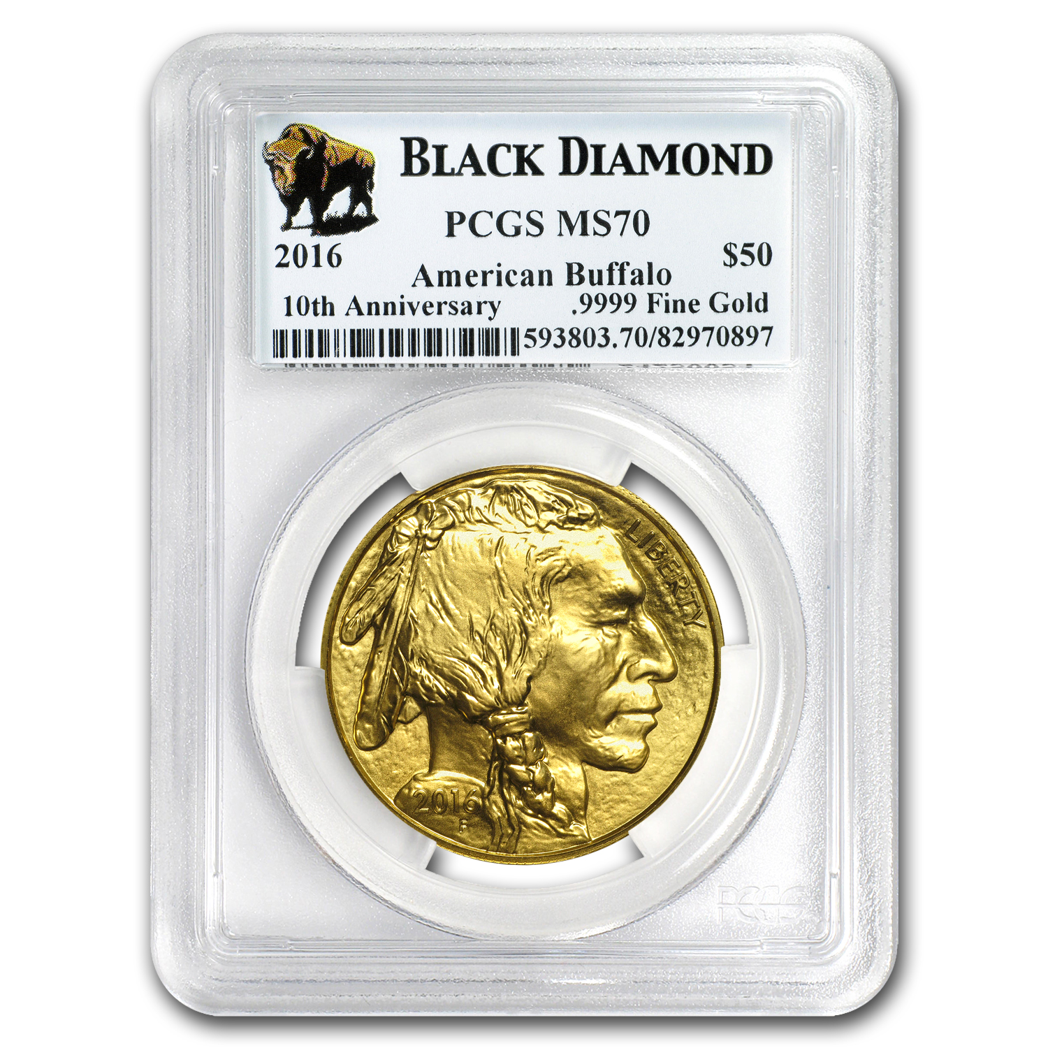 2016 1 oz Gold Buffalo MS-70 PCGS (Black Diamond)
