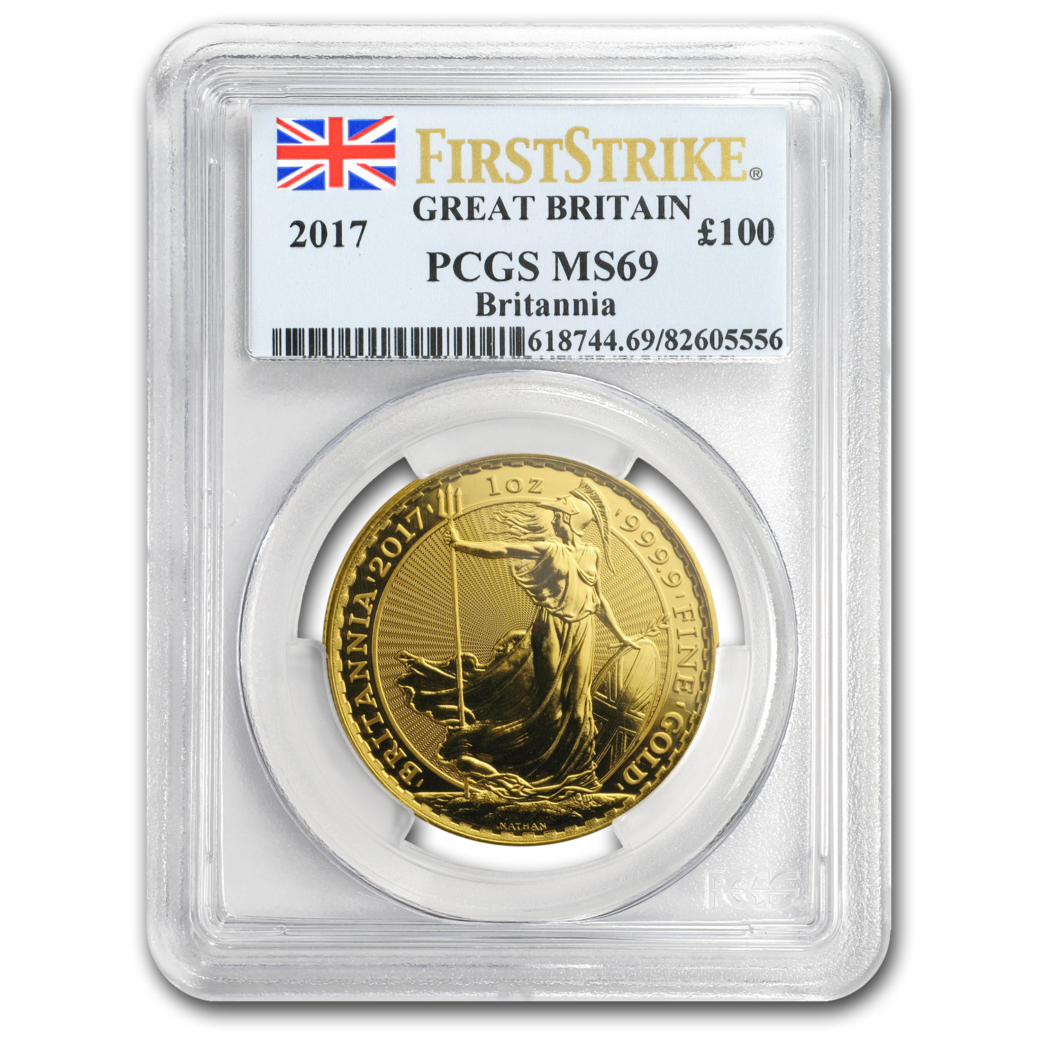 2017 Great Britain 1 oz Gold Britannia MS-69 PCGS (FS)