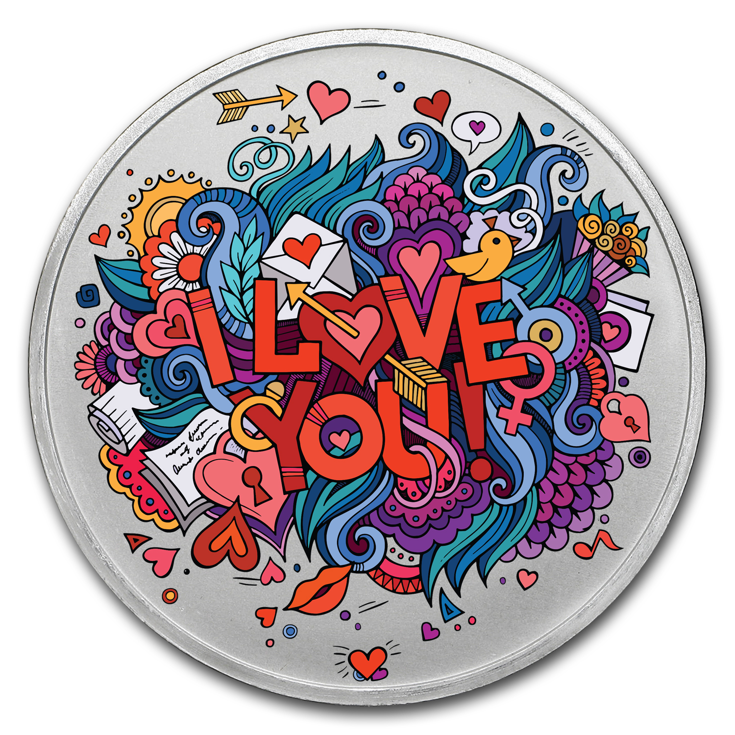 1 oz Silver Colorized Round - APMEX (Crazy Love)