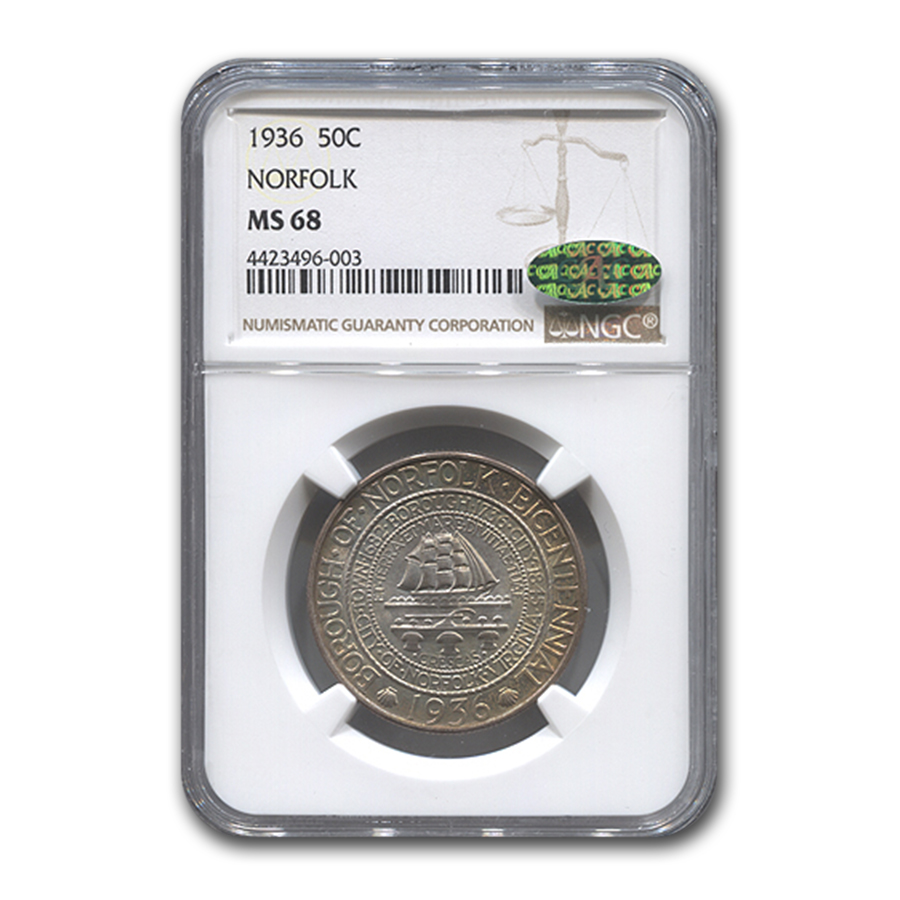 1936 Norfolk Half Dollar MS-68 NGC CAC