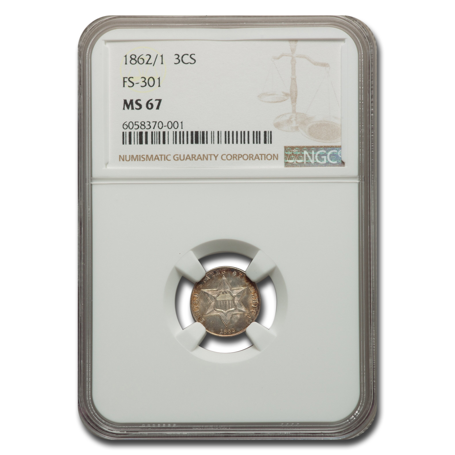 1862/1 Three Cent Silver MS-67 NGC