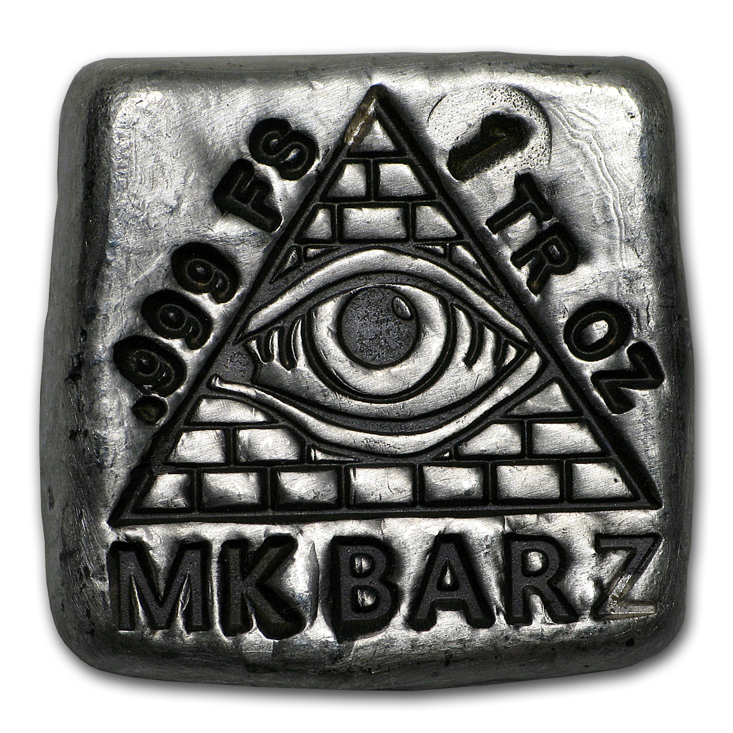 1 oz Silver Square - Mk Barz & Bullion (All-Seeing Eye)