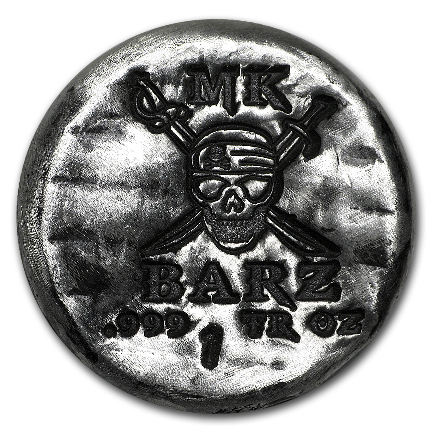 1 oz Silver Round - MK Barz & Bullion (Pirate Skull & Swords)