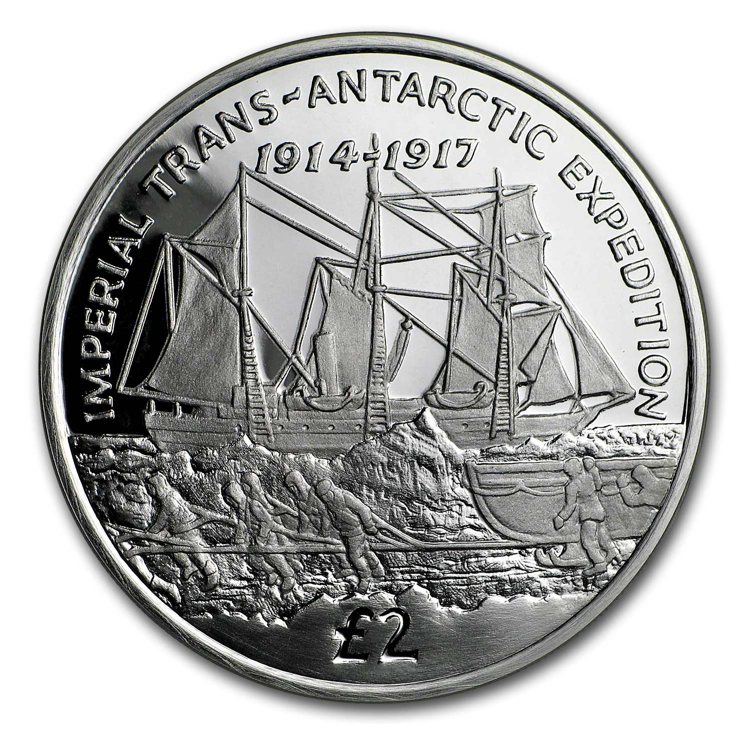2017 South Georgia Silver £2 Trans-Antarctic Expedition Proof