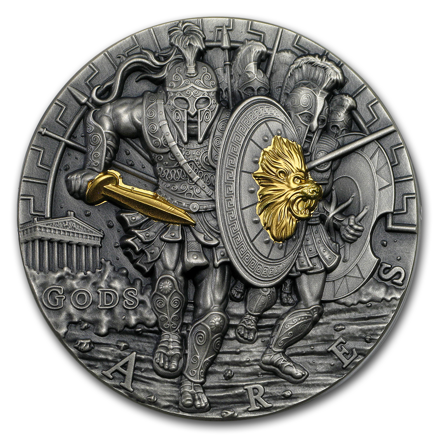 2017 Niue 2 oz Antique Silver Gods of War Ares Ultra High Relief