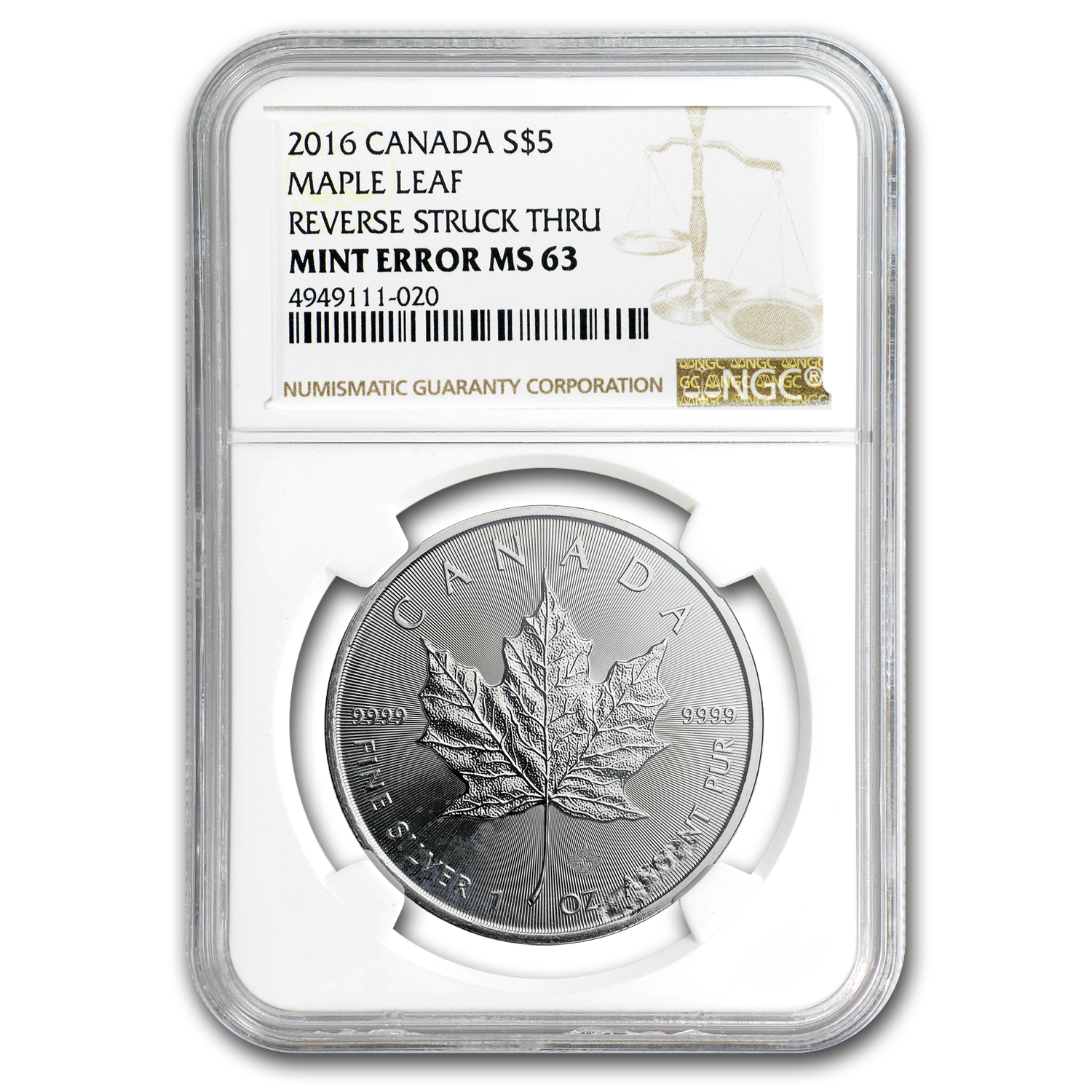 2016 Canada 1 oz Silver Maple Leaf MS-63 NGC (Rev Mint Error)