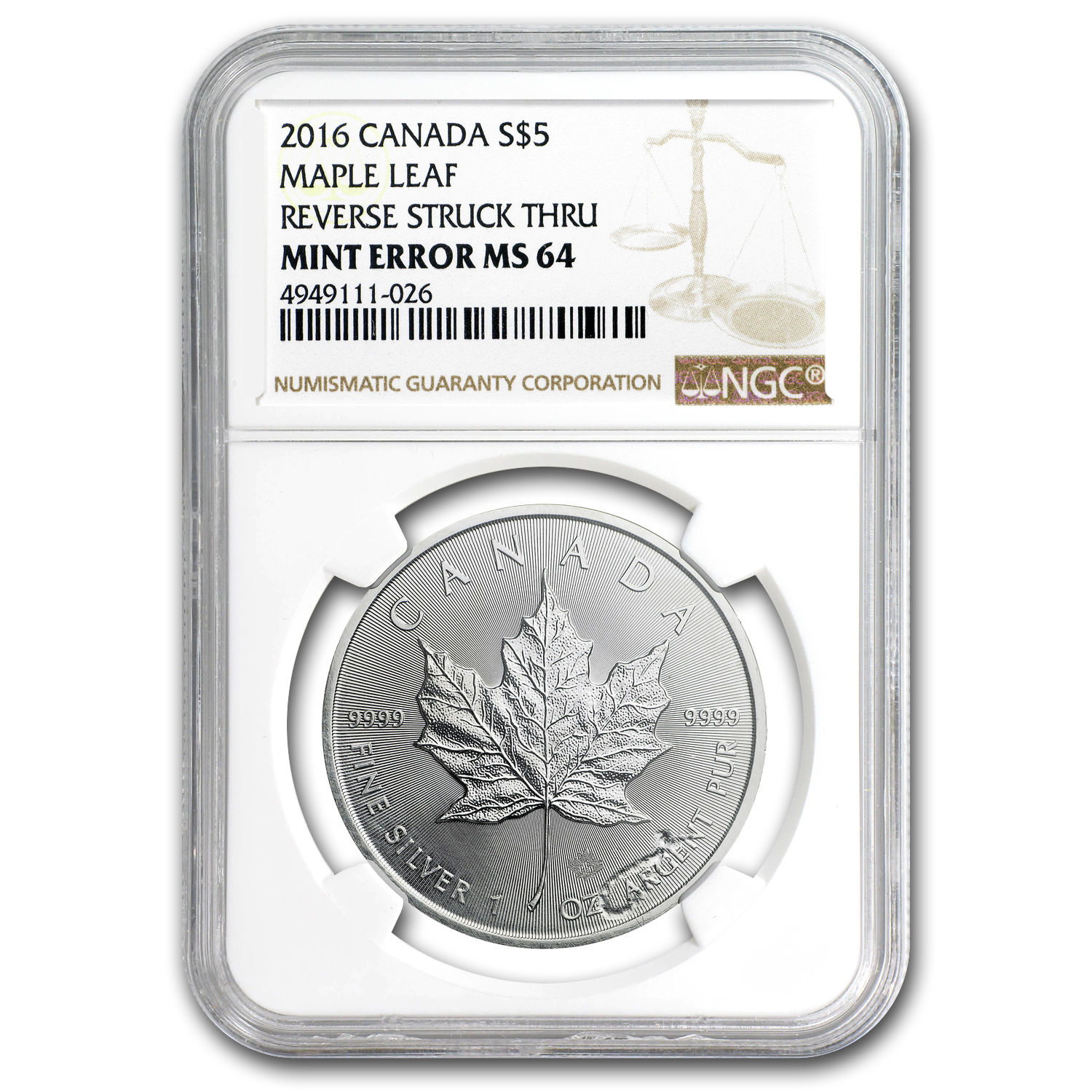 2016 Canada 1 oz Silver Maple Leaf MS-64 NGC (Rev Mint Error)