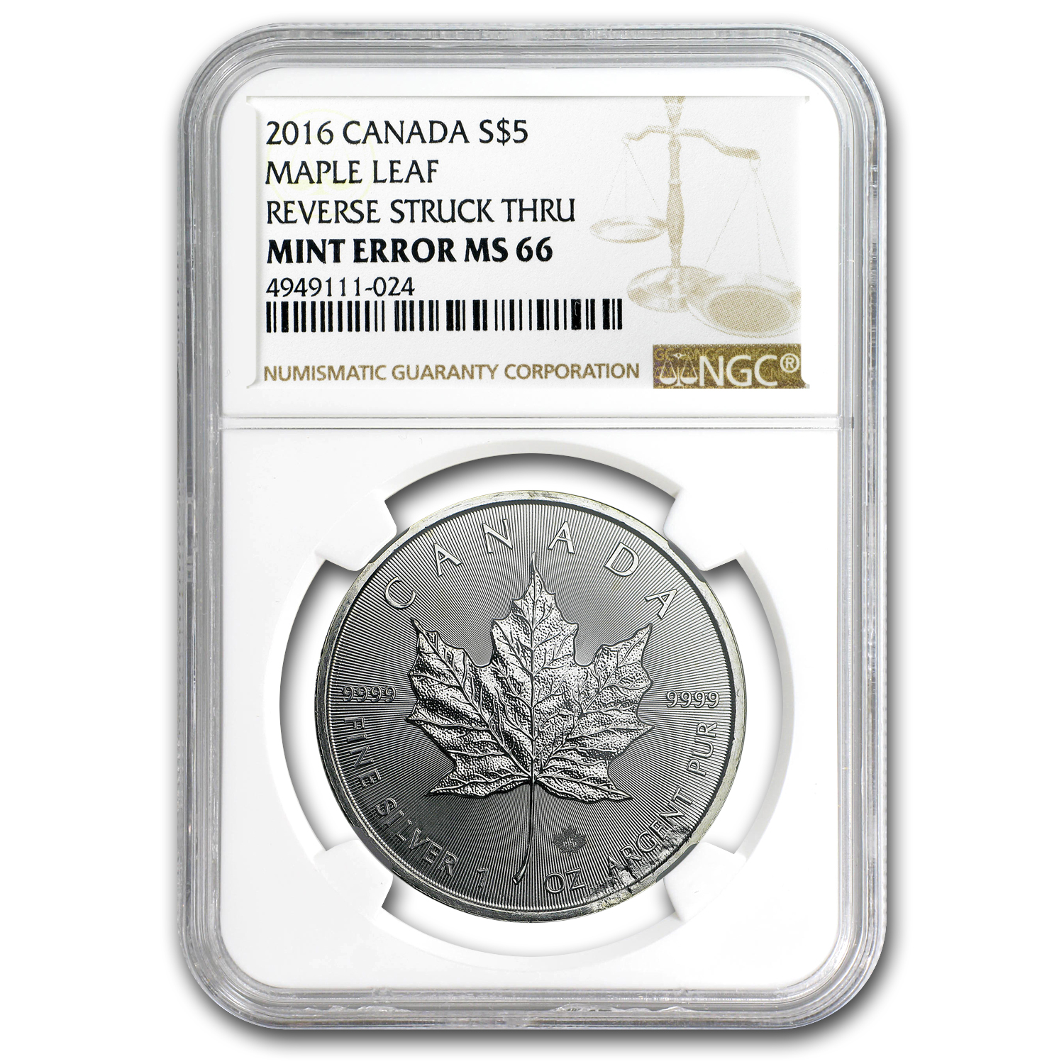 2016 Canada 1 oz Silver Maple Leaf MS-66 NGC (Rev Mint Error)
