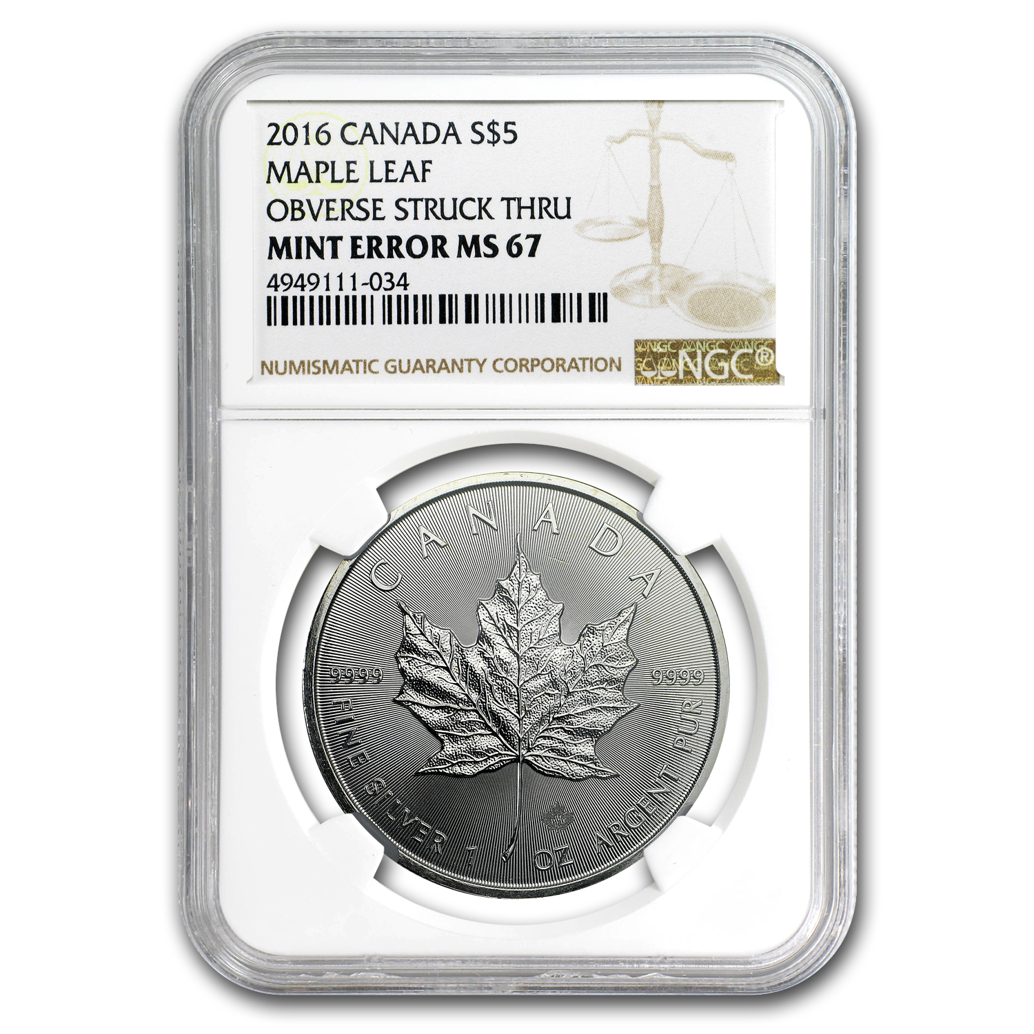 2016 Canada 1 oz Silver Maple Leaf MS-67 NGC (Obv Mint Error)