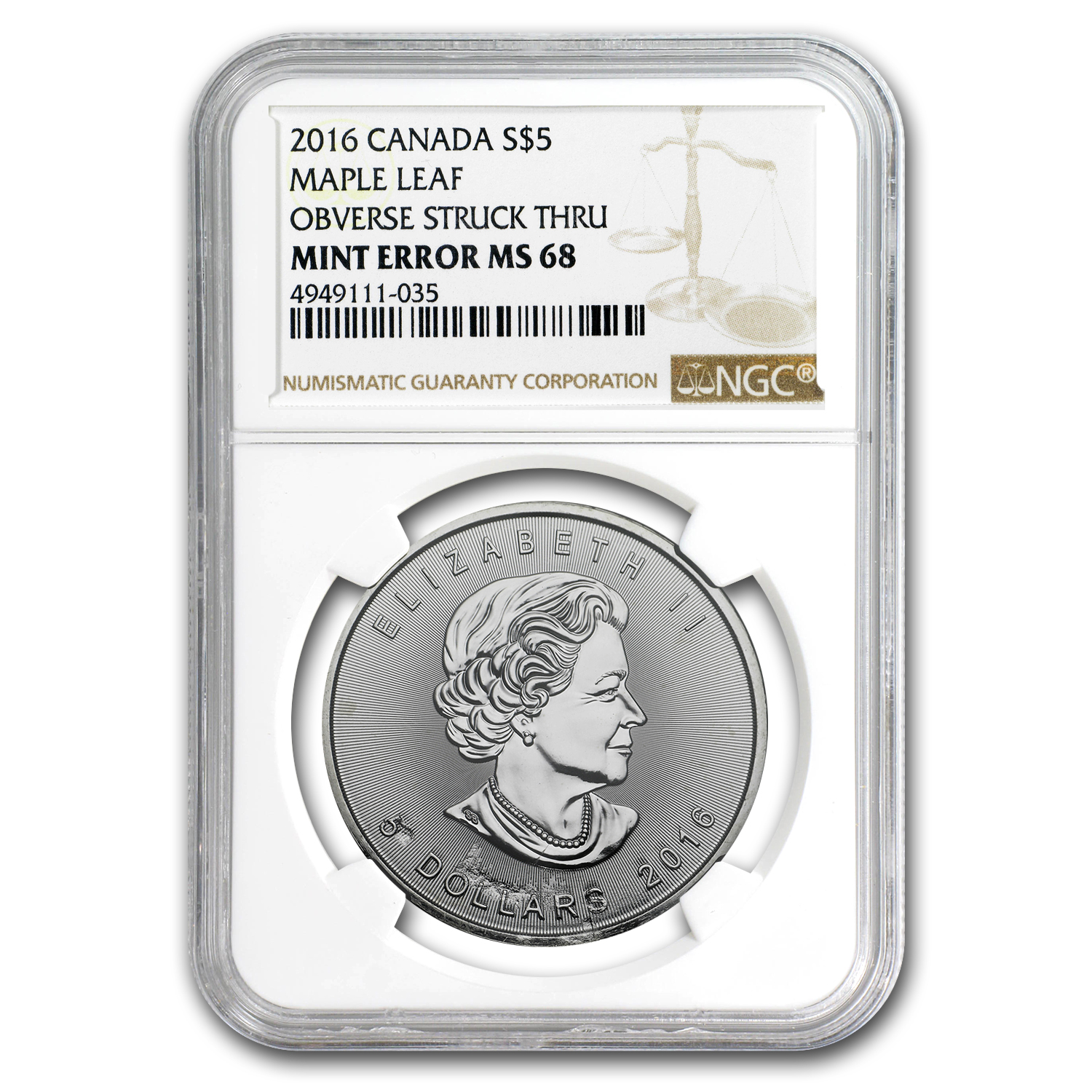 2016 Canada 1 oz Silver Maple Leaf MS-68 NGC (Obv Mint Error)