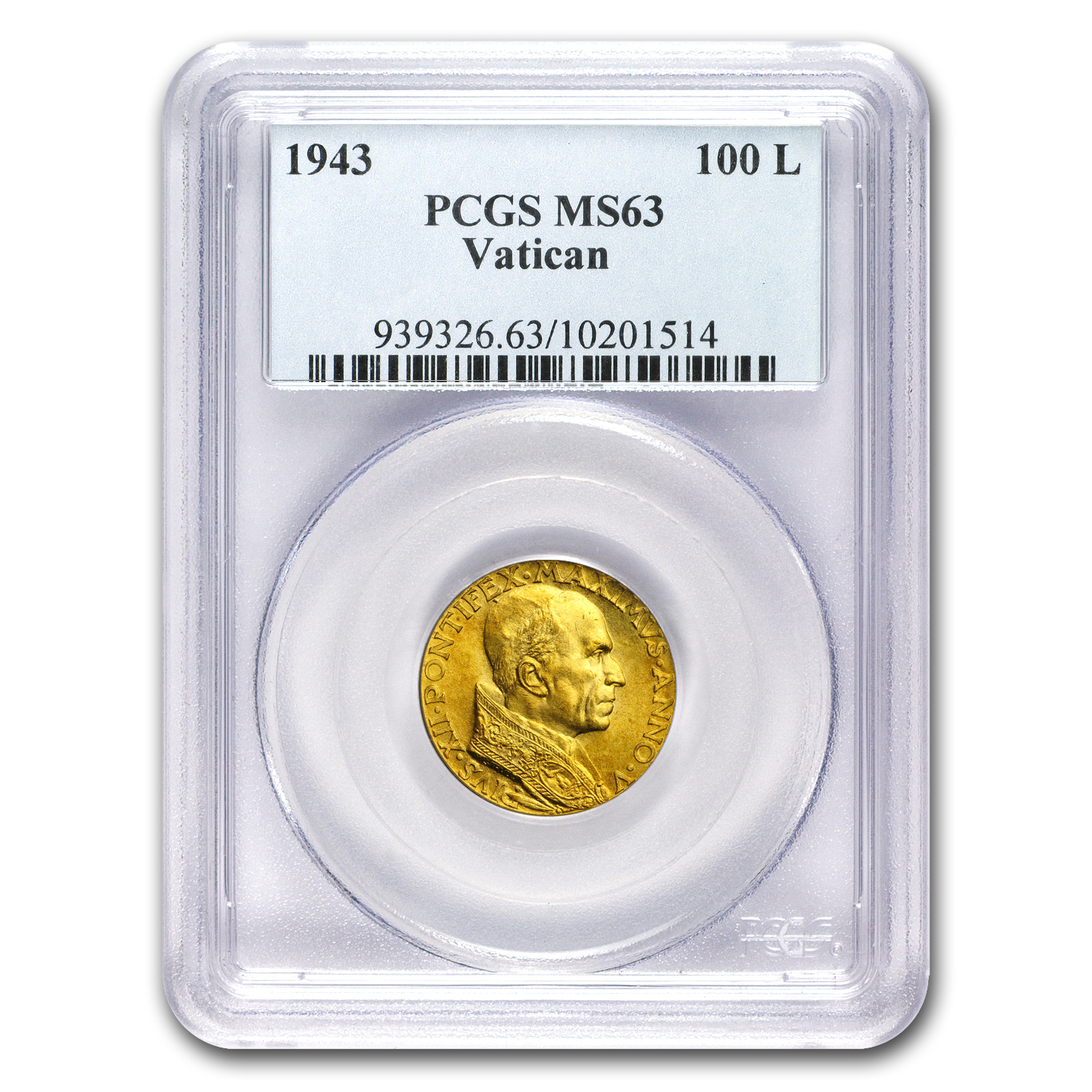 1943 Vatican City Gold 100 Lire Pope Pius XII MS-63 PCGS