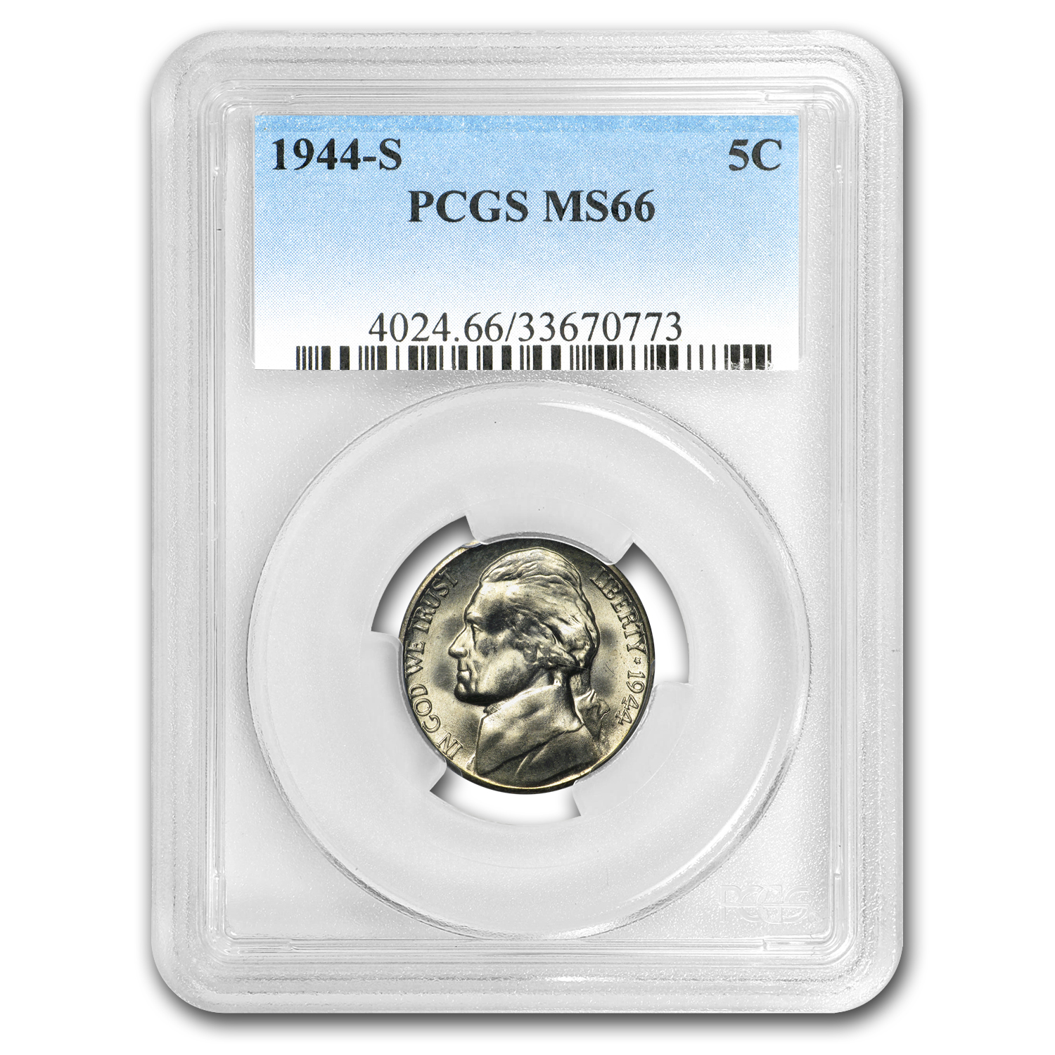1944-S Jefferson Nickel MS-66 PCGS