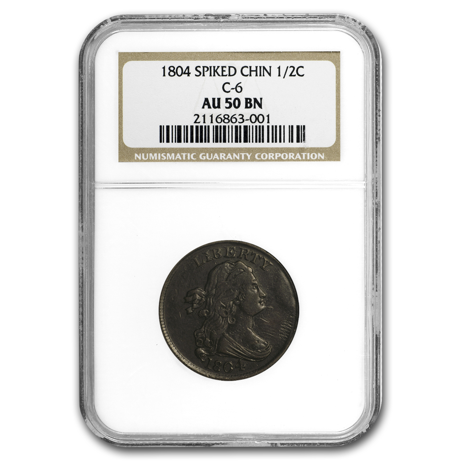 1804 Half Cent, Spiked Chin AU-50 NGC (Brown C-6)