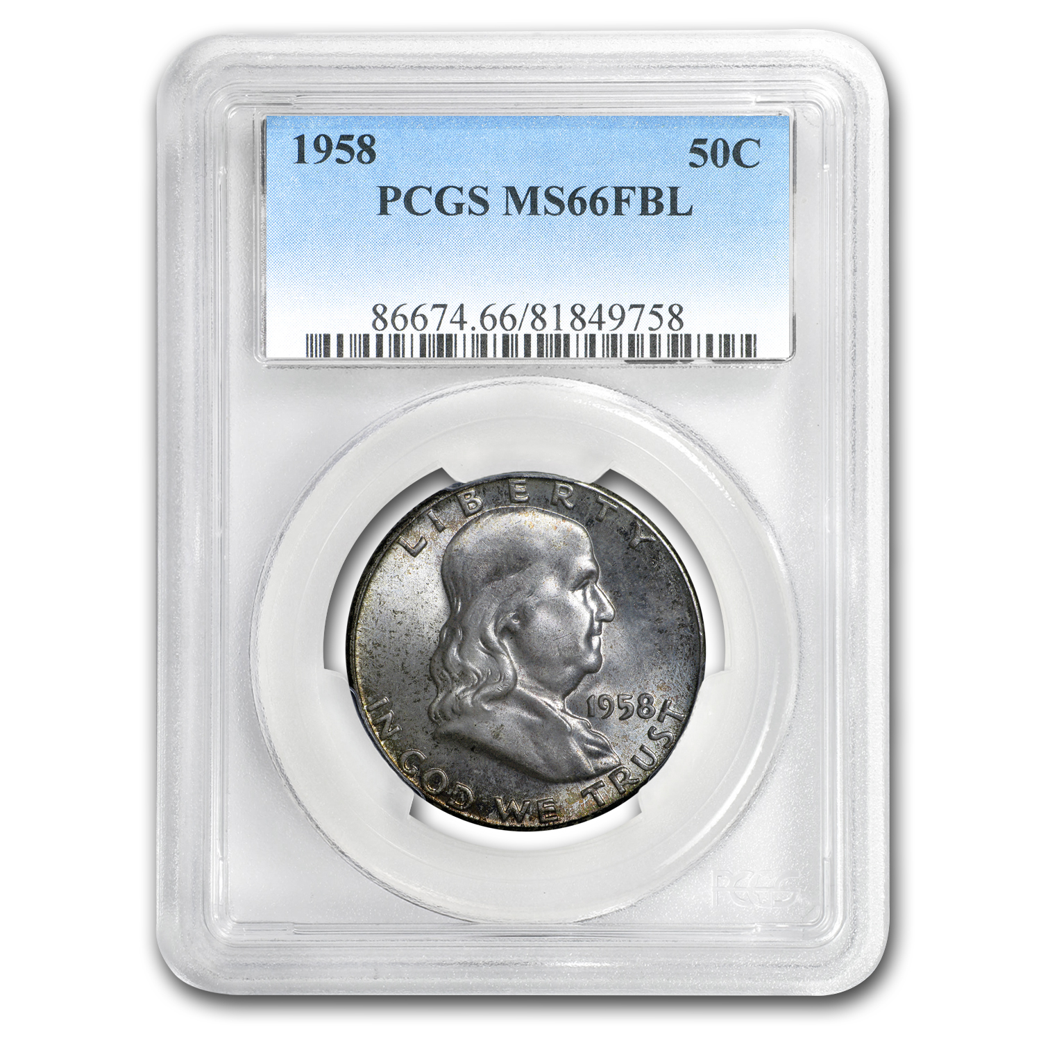 1958 Franklin Half Dollar MS-66 PCGS (FBL, Toned)