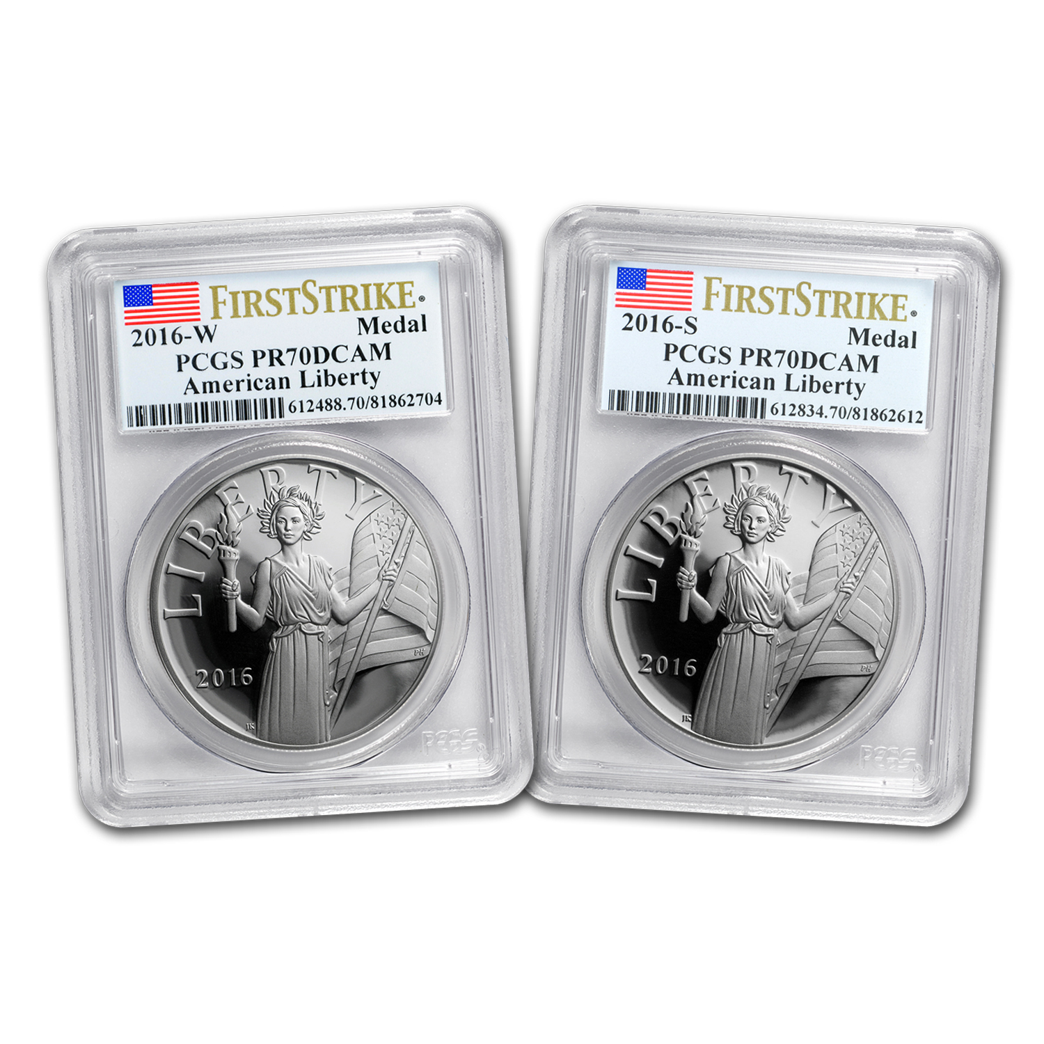 2016 2-Coin American Liberty Silver Medal Prf Set PR-70 PCGS (FS)
