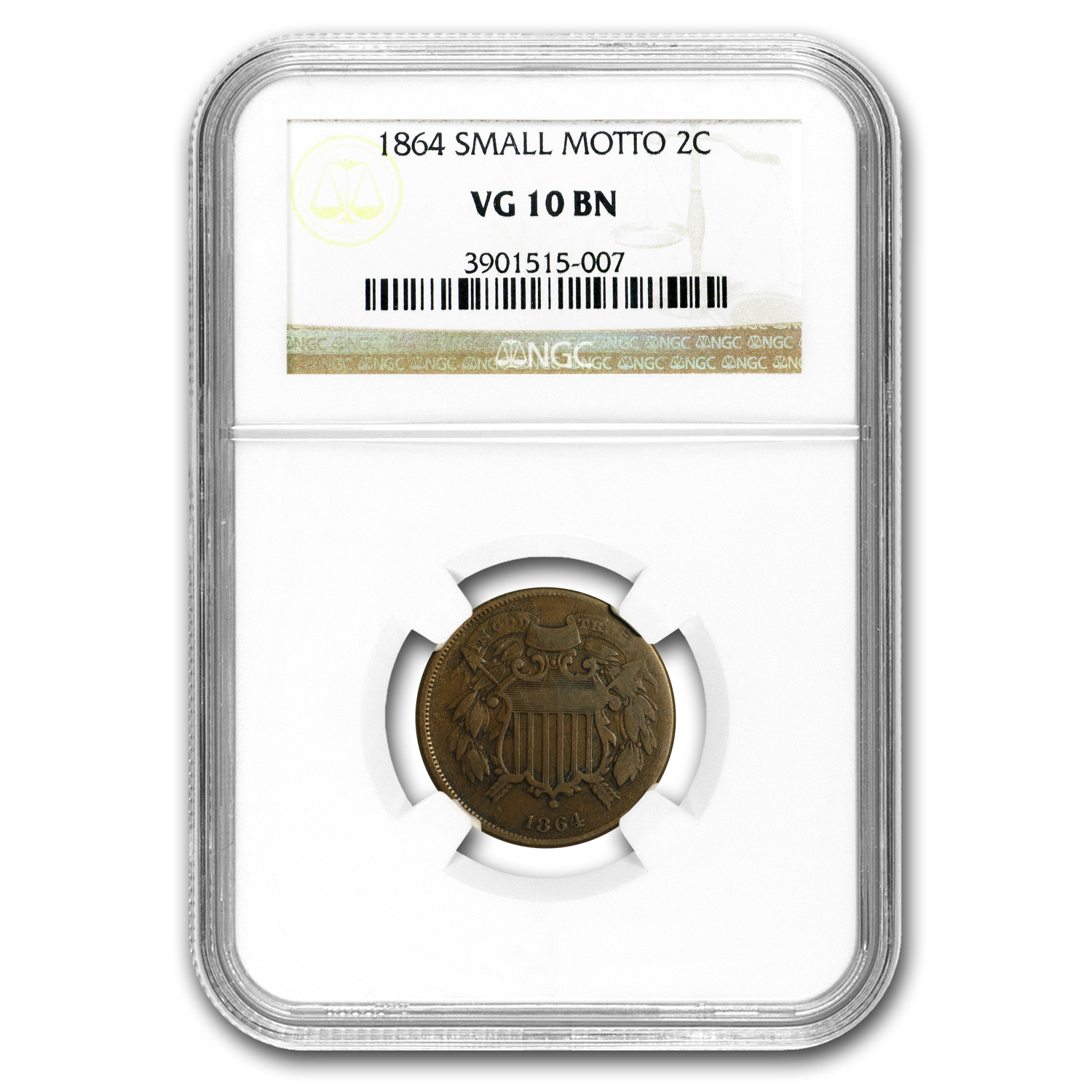 1864 Two Cent Piece Small Motto VG-10 NGC