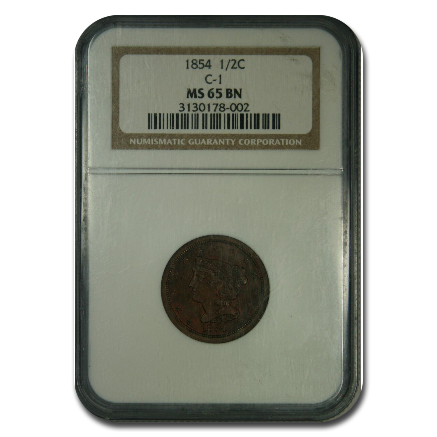 1854 Half Cent MS-65 NGC (Brown)