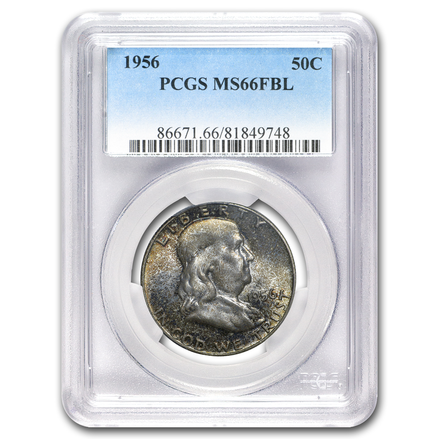 1956 Franklin Half Dollar MS-66 PCGS (FBL,Toned)