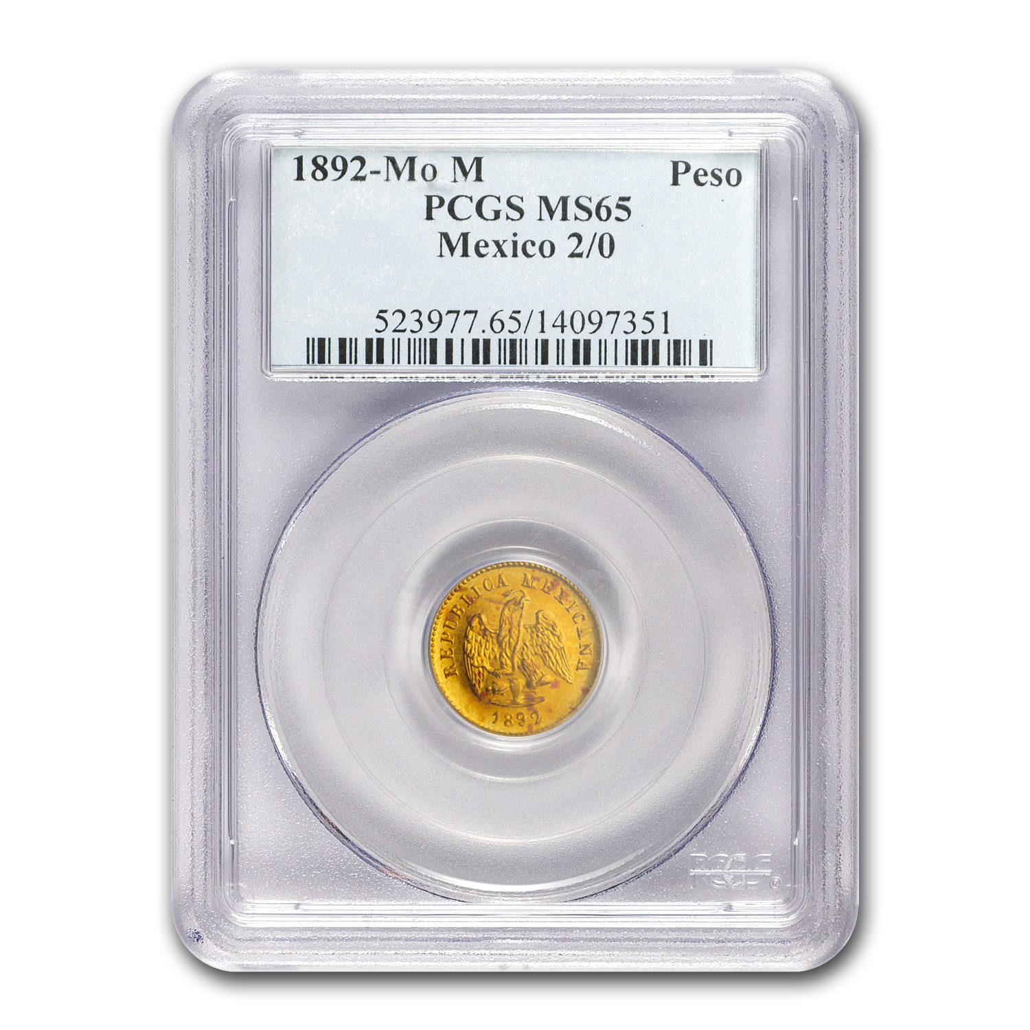 1892/0-Mo Mexico Gold Peso MS-65 PCGS