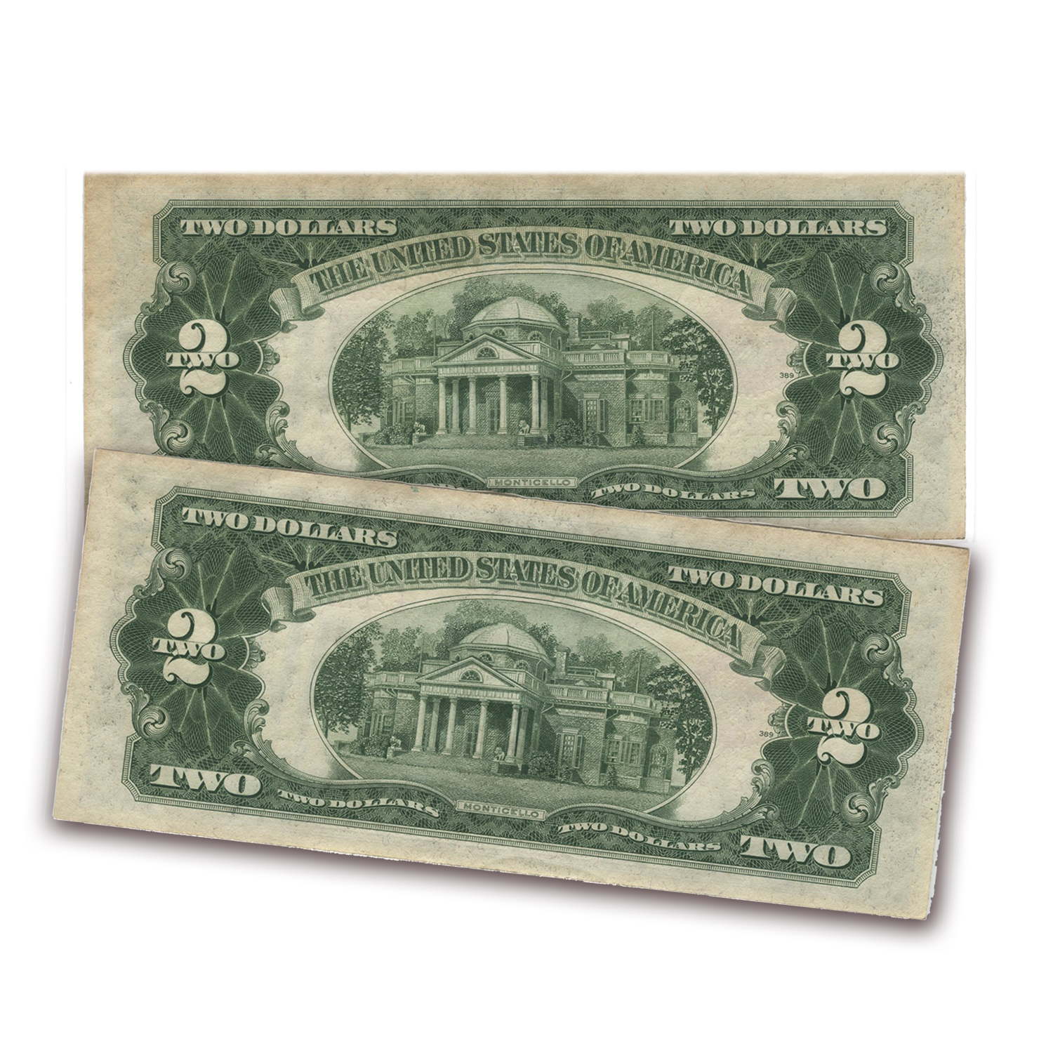 1928-G $2.00 U.S. Note Red Seal AU (2 Consecutive Notes)