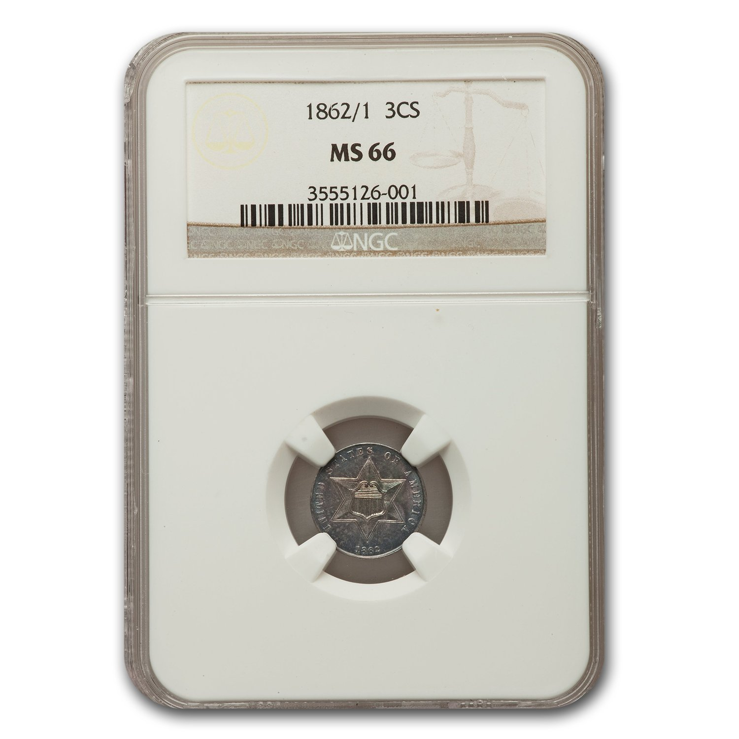 1862/1 Three Cent Silver MS-66 NGC