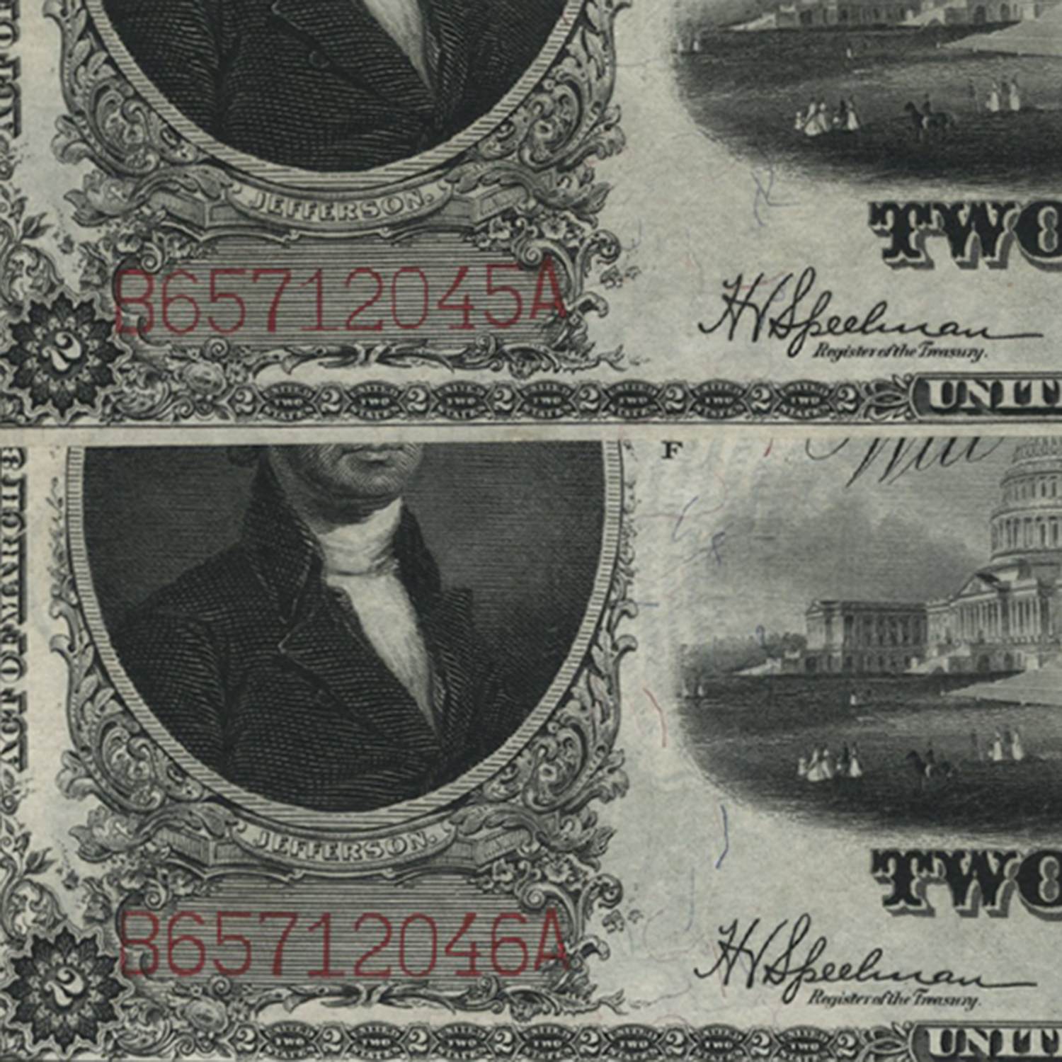 1917 $2.00 Legal Tender CU (Bracelet Back, 2 Consecutive Notes)