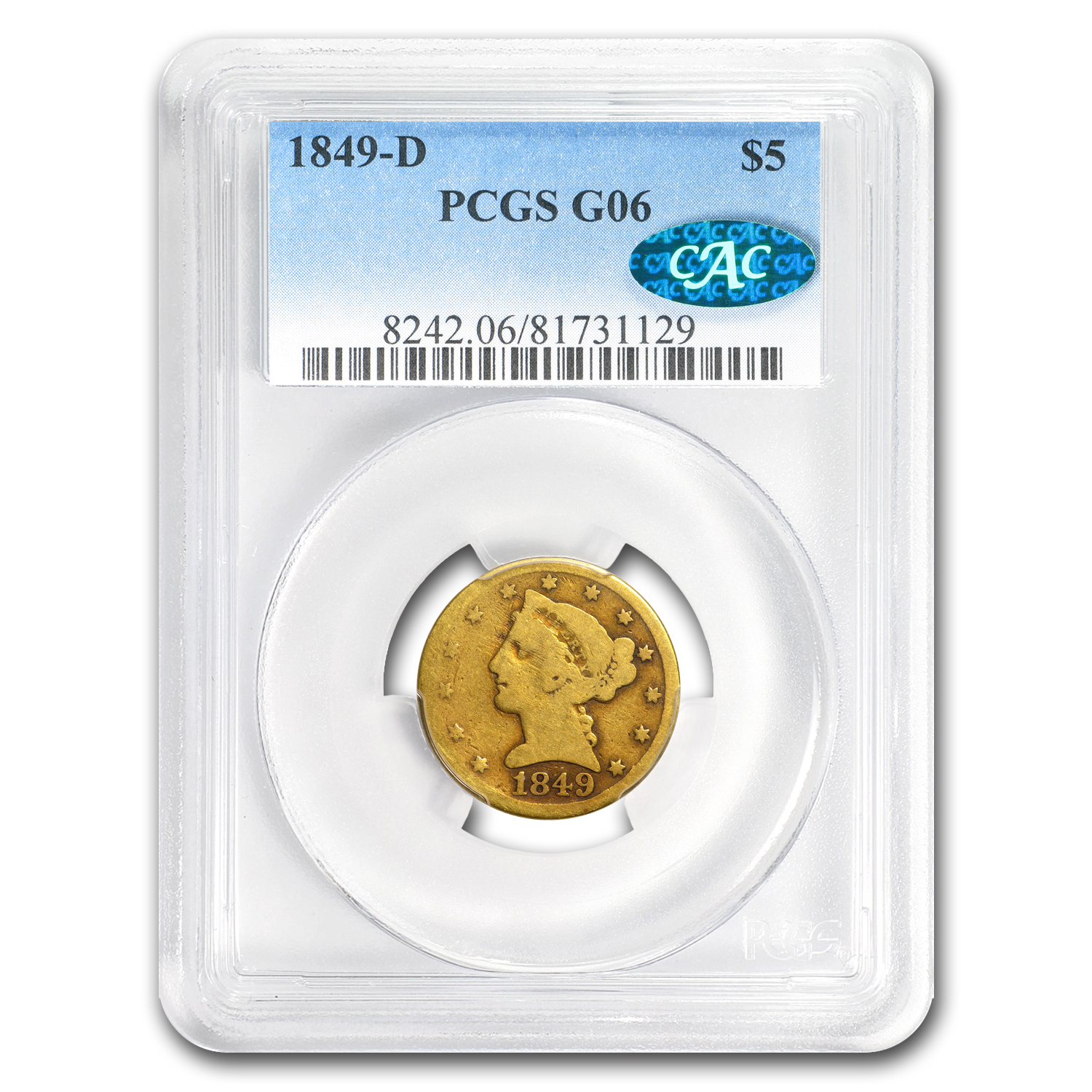 1849-D $5 Liberty Gold Half Eagle Good-6 PCGS CAC