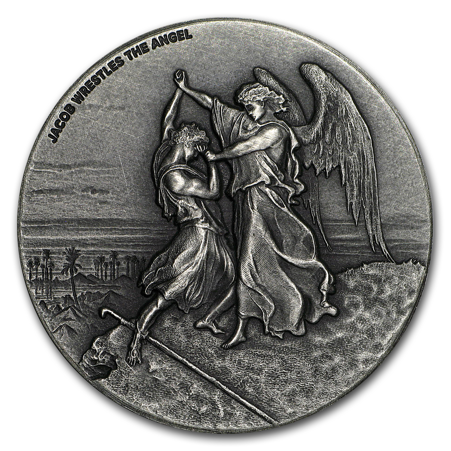2017 2 oz Silver Coin - Biblical Series (Jacob Wrestles Angel)
