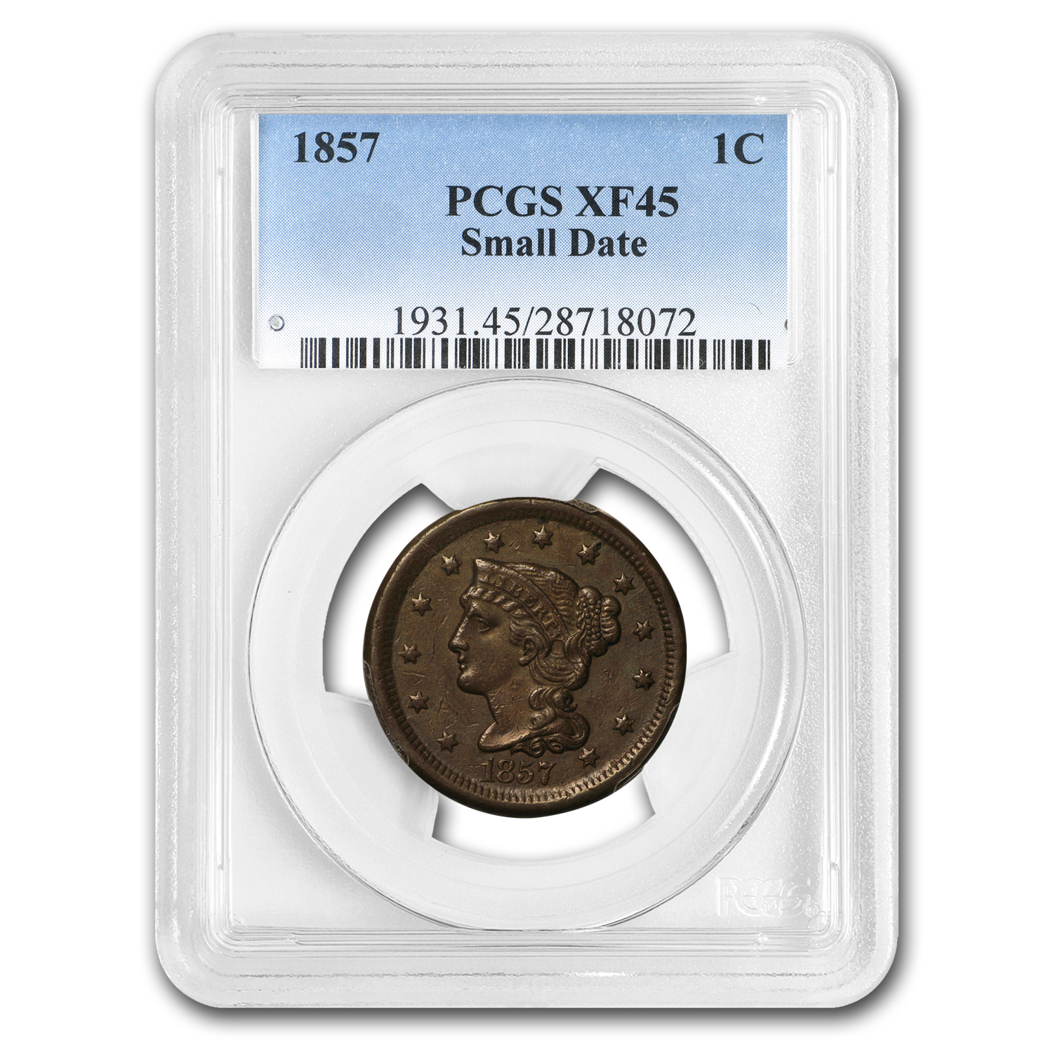 1857 Small Date Large Cent XF-45 PCGS