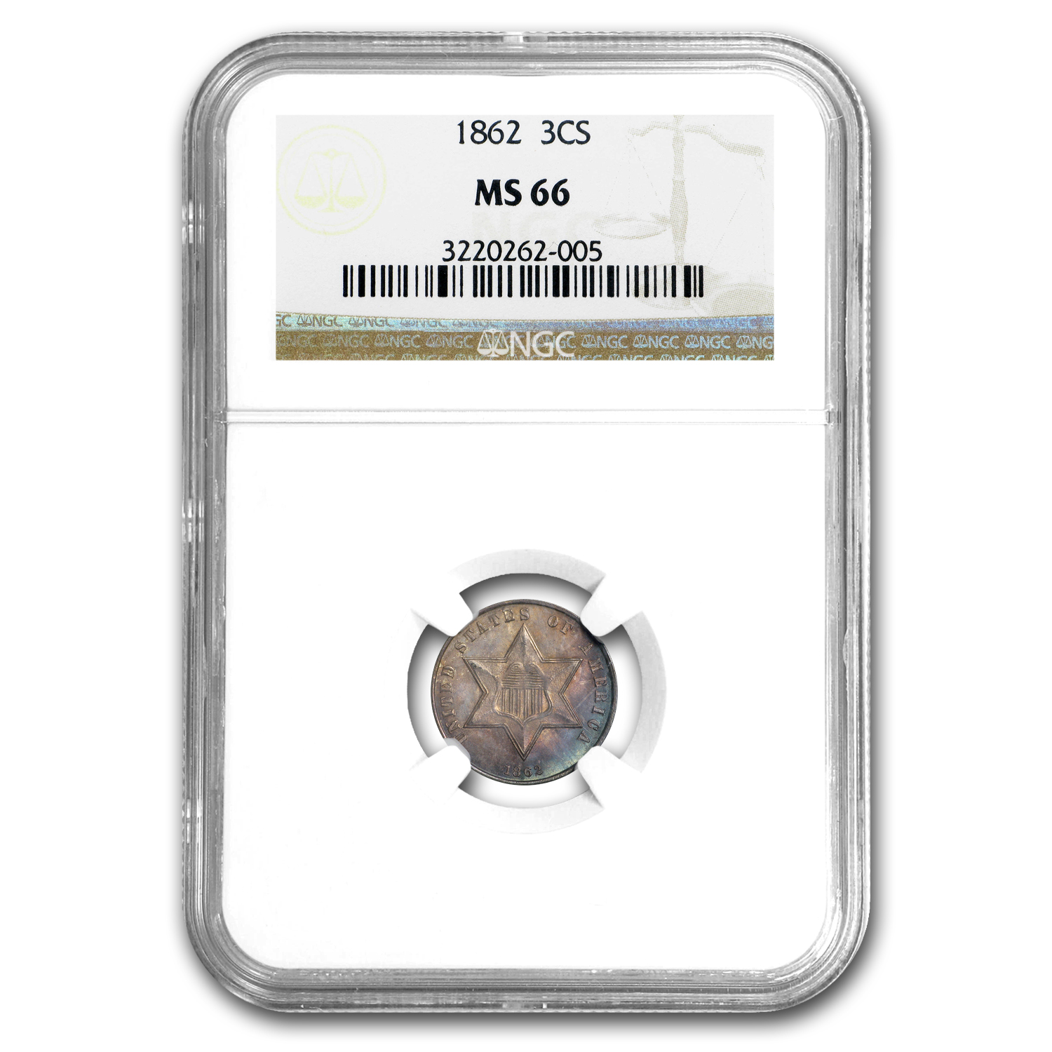 1862 Three Cent Silver MS-66 NGC