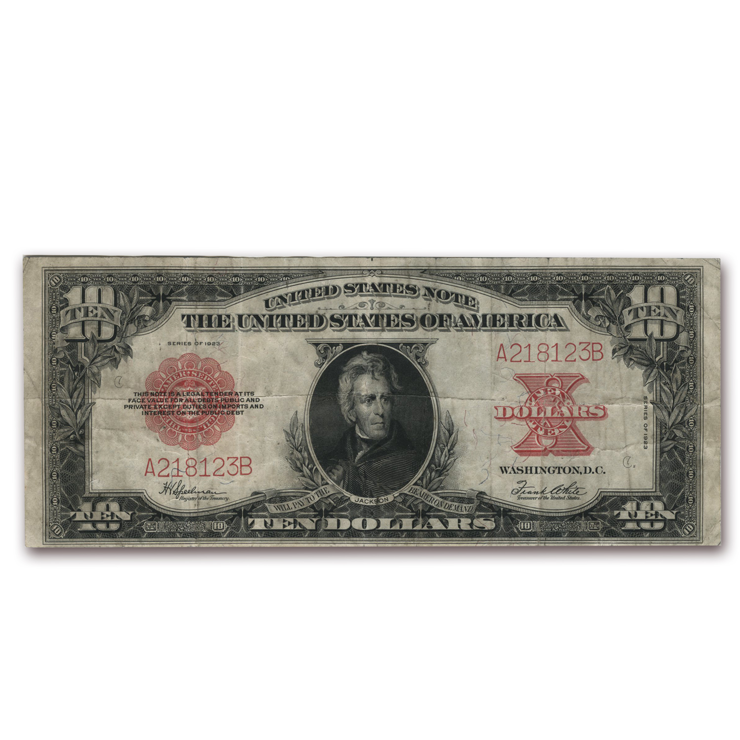 1923 $10 United States Note Red Seal Ch VF (Poker Chip)