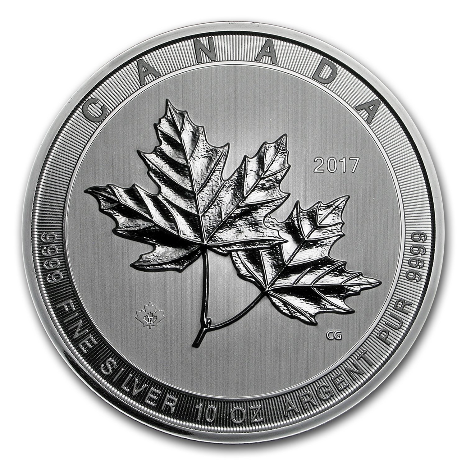 2017 Canada 10 oz Silver $50 Magnificent Maple Leaves BU