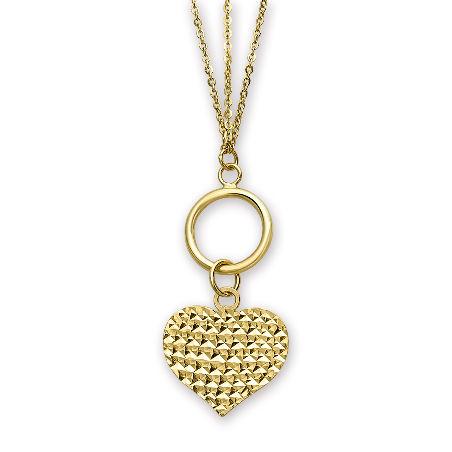 14k Gold Polished 3-Strand Diamond-Cut Heart Toggle Necklace